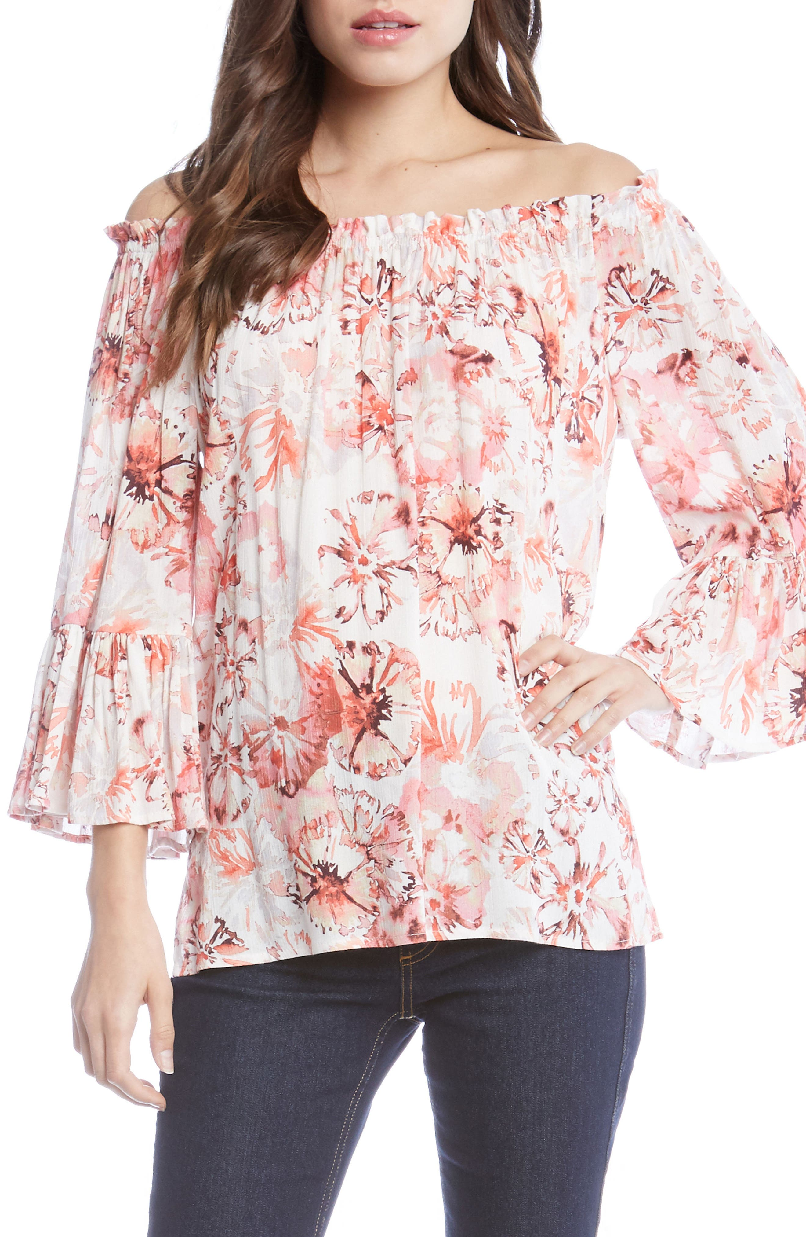 Floral Off the Shoulder Convertible Top,                             Main thumbnail 1, color,                             Rose
