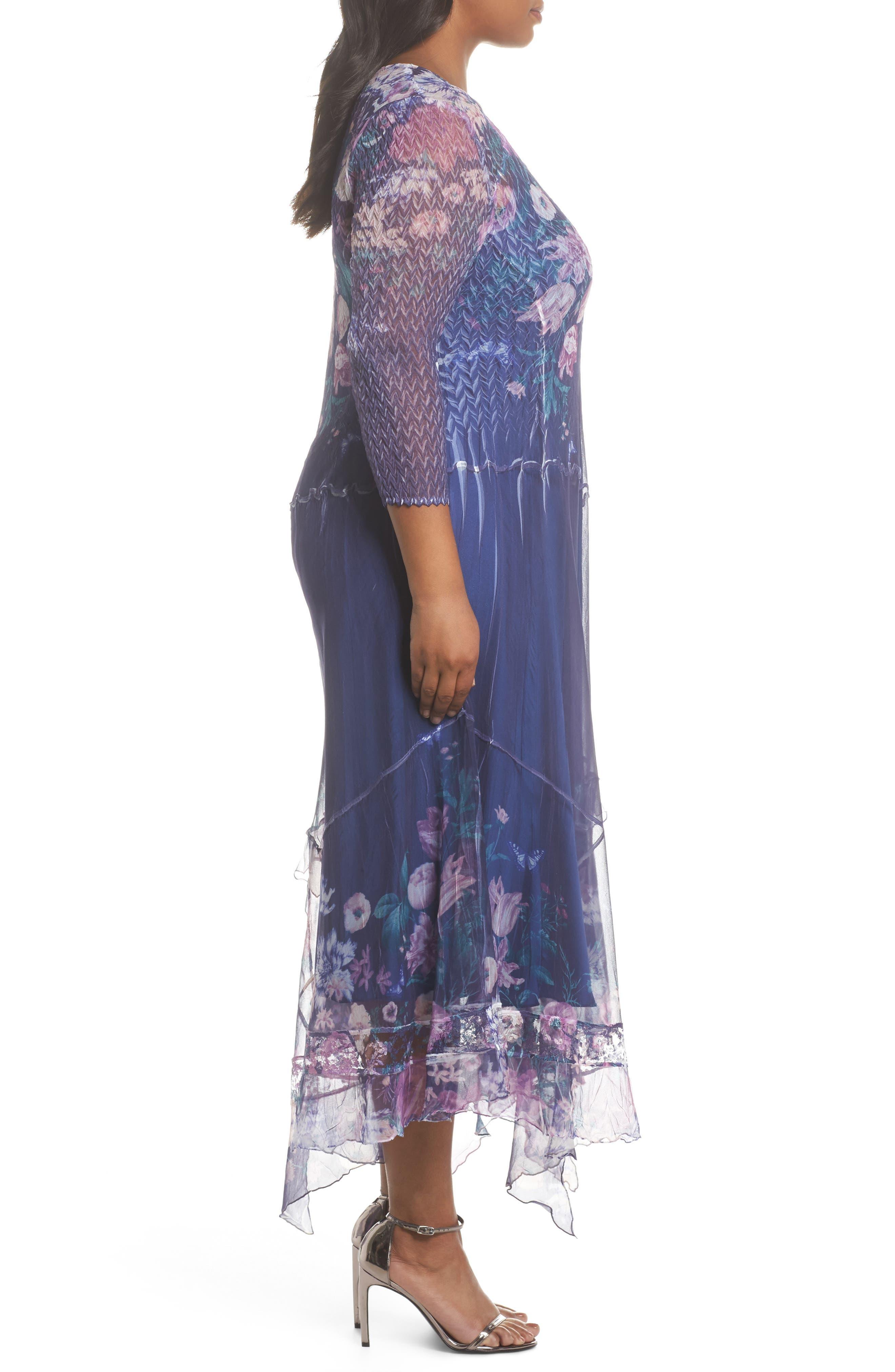 Alternate Image 3  - Komarov Chiffon Handkerchief Hem Dress (Plus Size)
