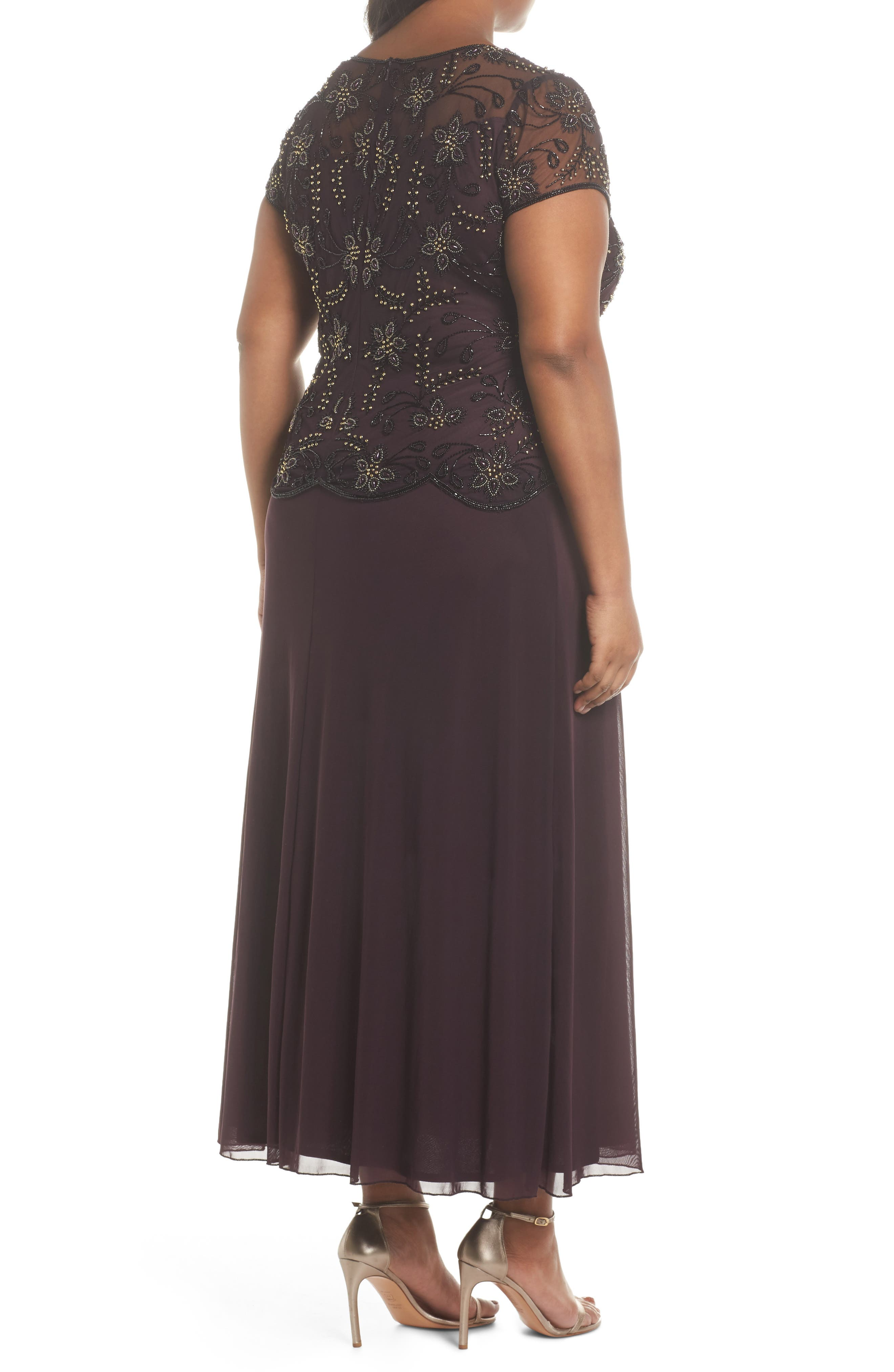 Embellished Mock Two-Piece Maxi Dress,                             Alternate thumbnail 2, color,                             Wine