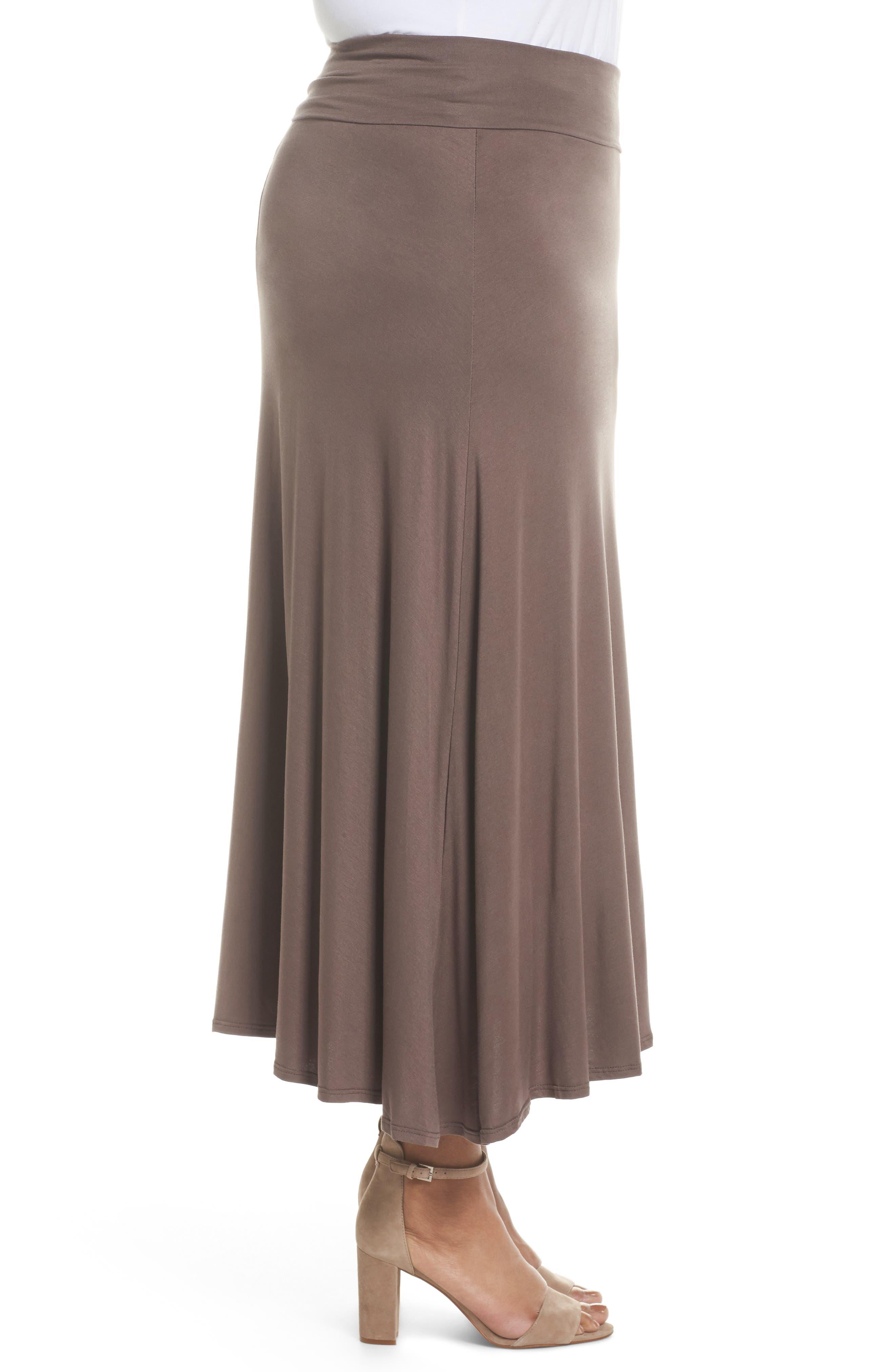 Foldover Knit Skirt,                             Alternate thumbnail 3, color,                             Mocha