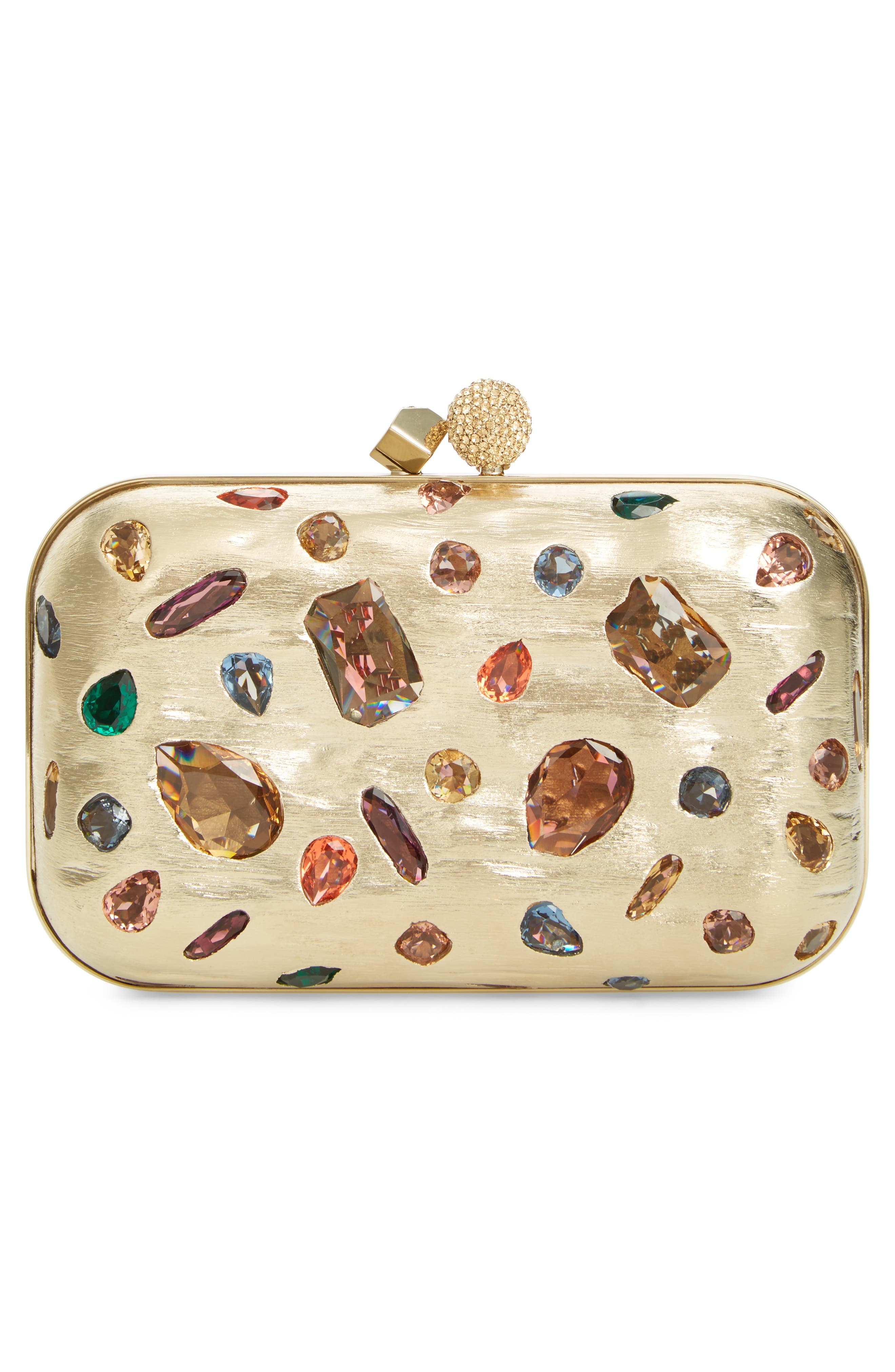 Alternate Image 3  - Jimmy Choo Cloud Minaudière Crystal Embellished Metallic Box Clutch