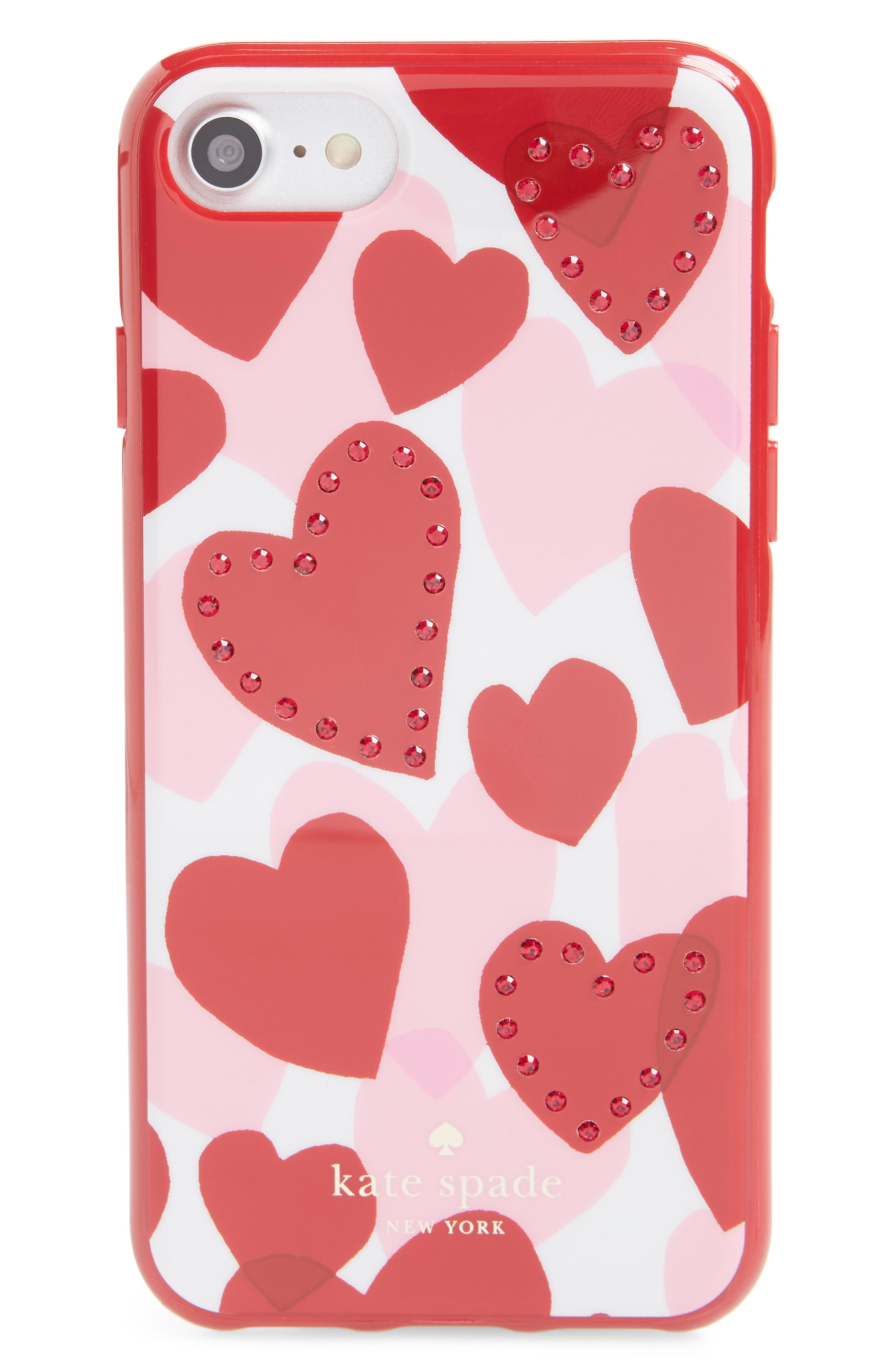 crystal heart iPhone 7/8 & 7/8 Plus case,                             Main thumbnail 1, color,                             Red Multi
