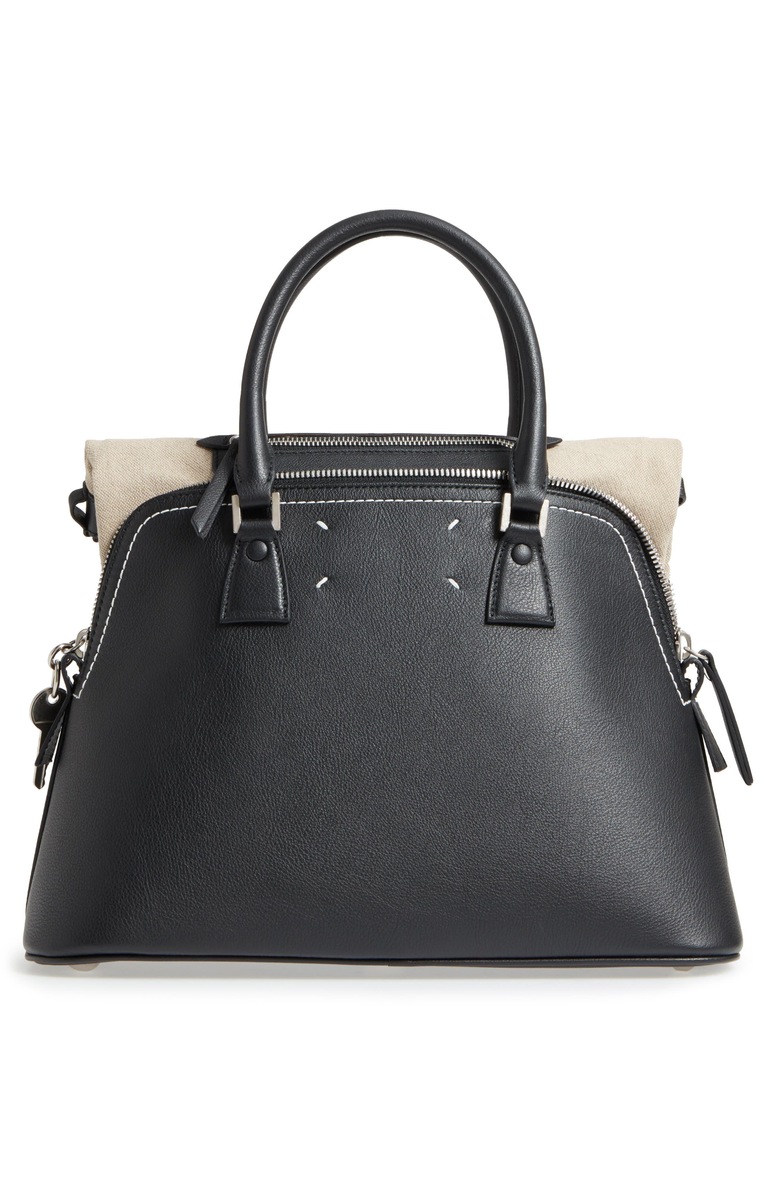 Medium 5AC Leather Handbag,                             Alternate thumbnail 3, color,                             Black