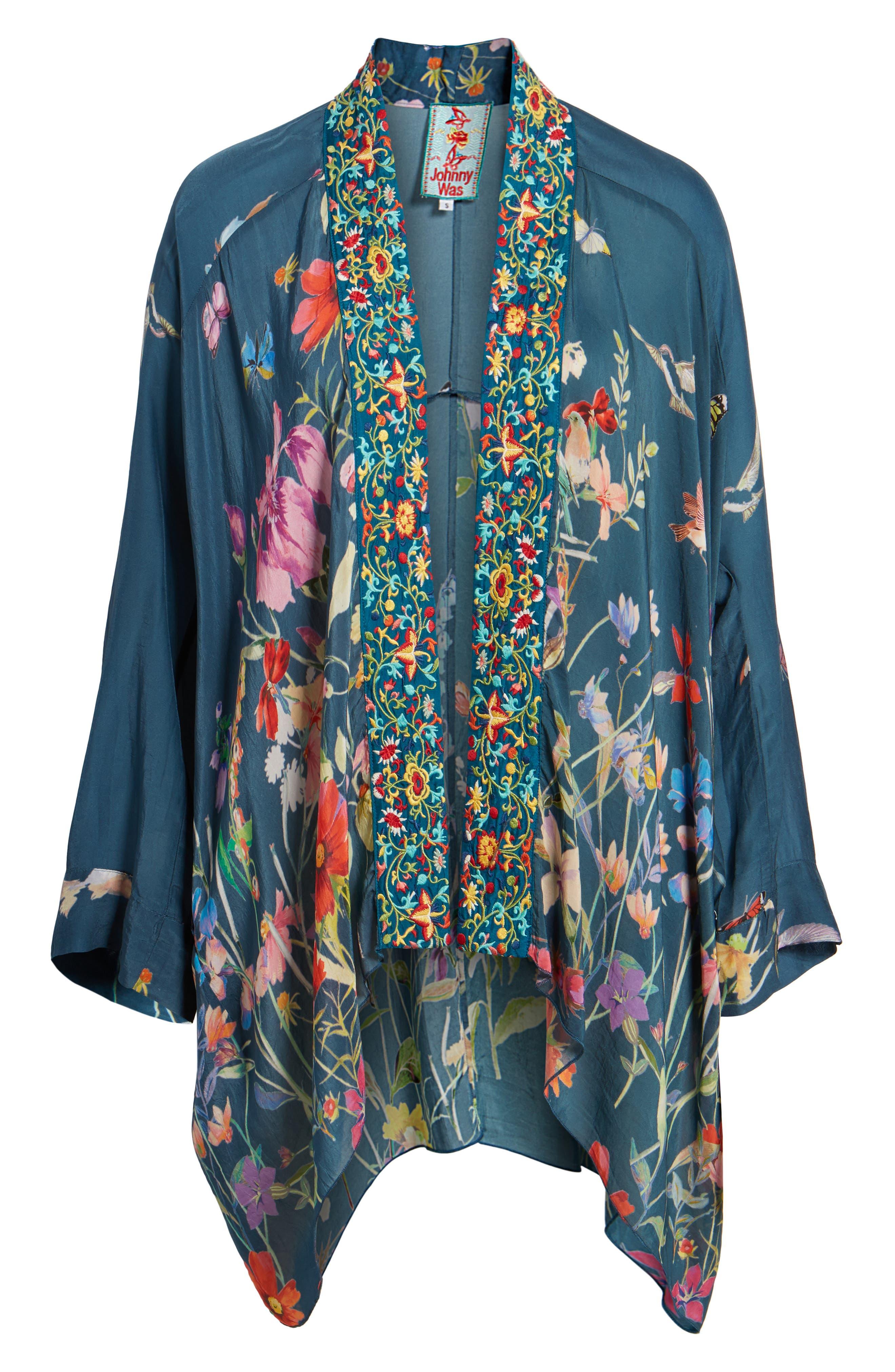 Summer Paisley Silk Kimono,                             Alternate thumbnail 6, color,                             Multi/ Blue