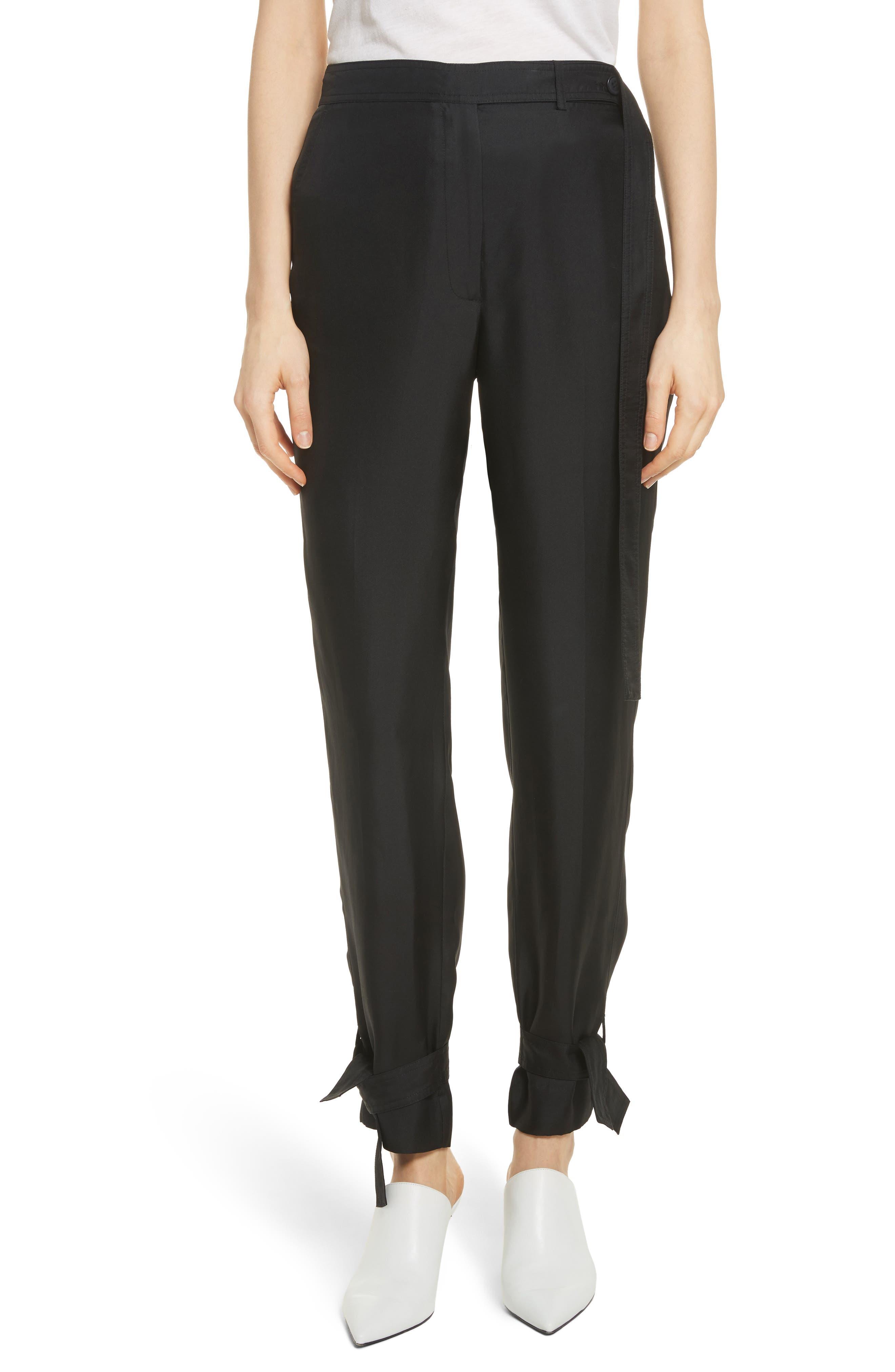 Tie Cuff Silk Pants,                         Main,                         color, Black