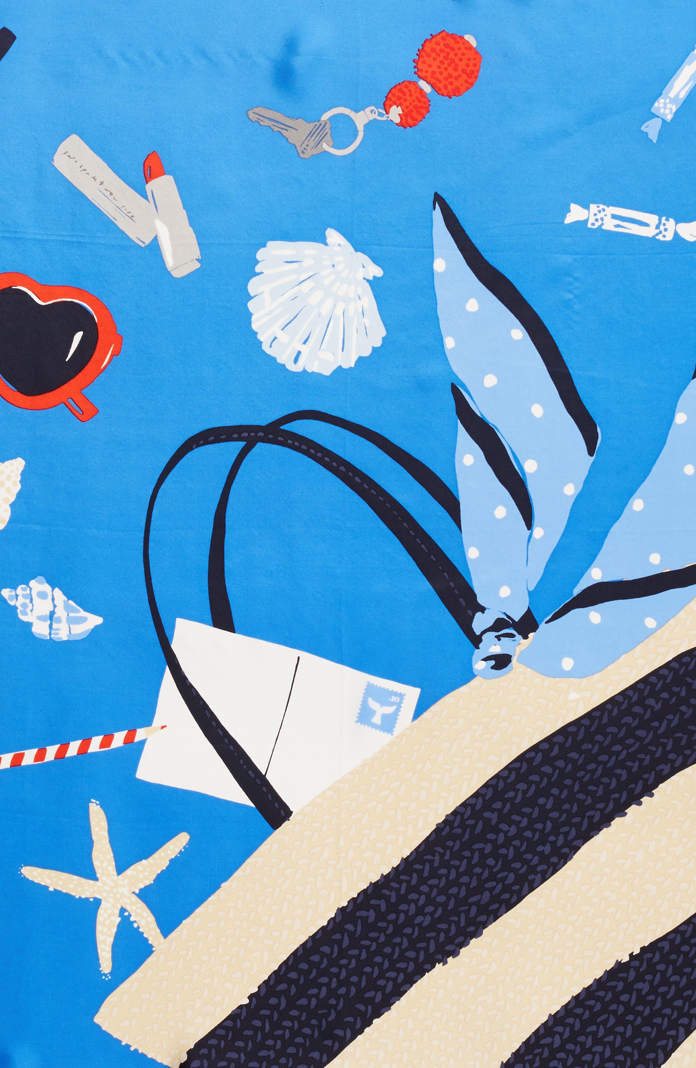 purse print square silk scarf,                             Alternate thumbnail 4, color,                             Wild Cornflower