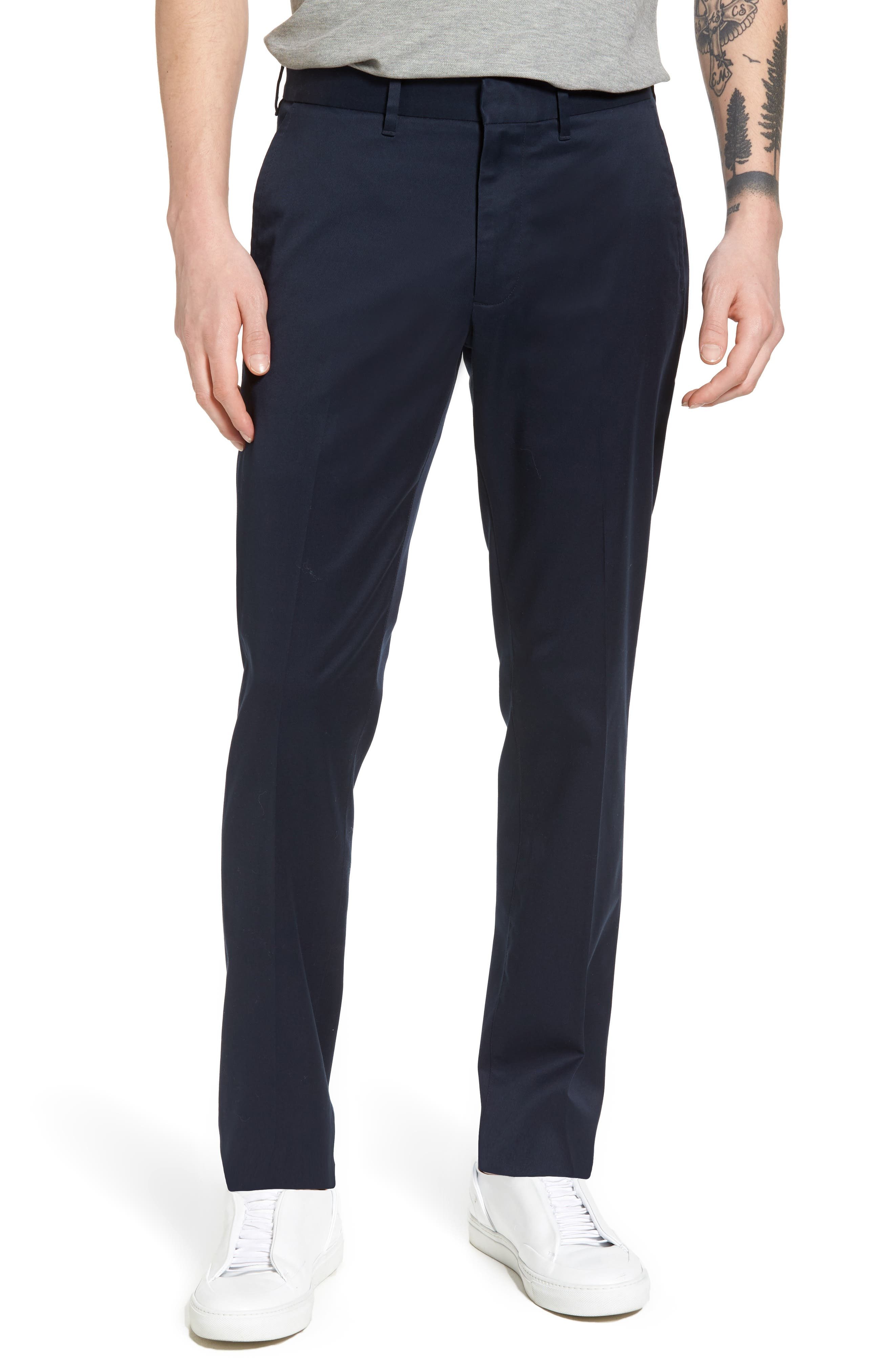 Slim Fit Non-Iron Chinos,                         Main,                         color, Navy Eclipse