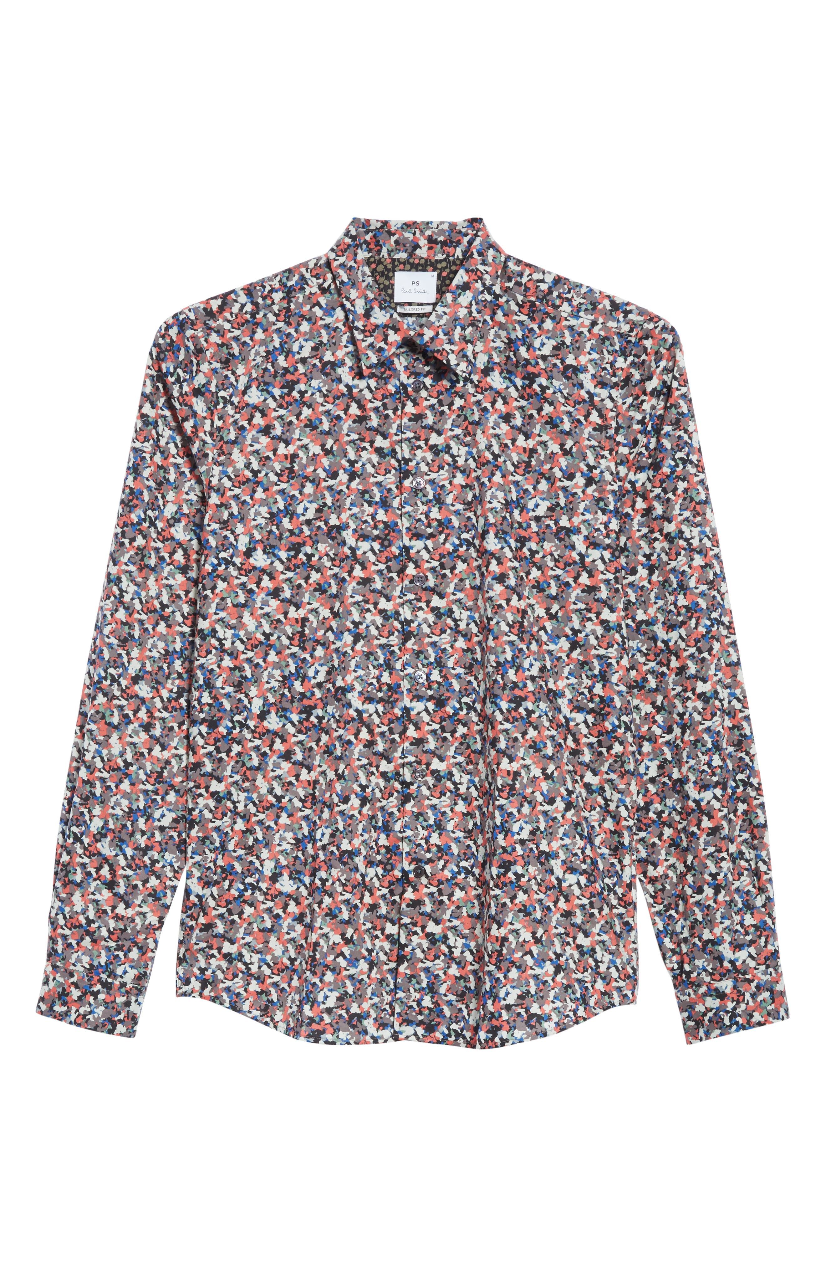 Tailored Print Shirt,                             Alternate thumbnail 6, color,                             Red