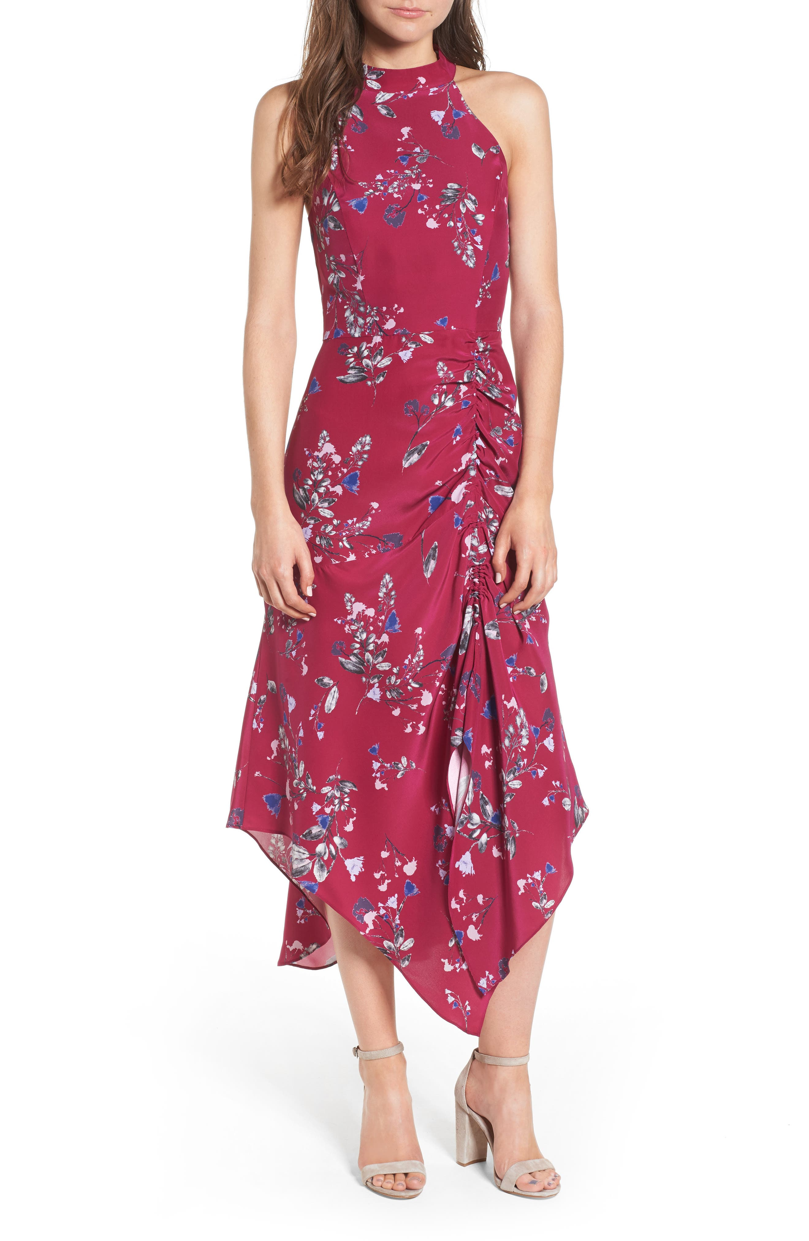 Jagger Silk Midi Dress,                             Main thumbnail 1, color,                             Delfina