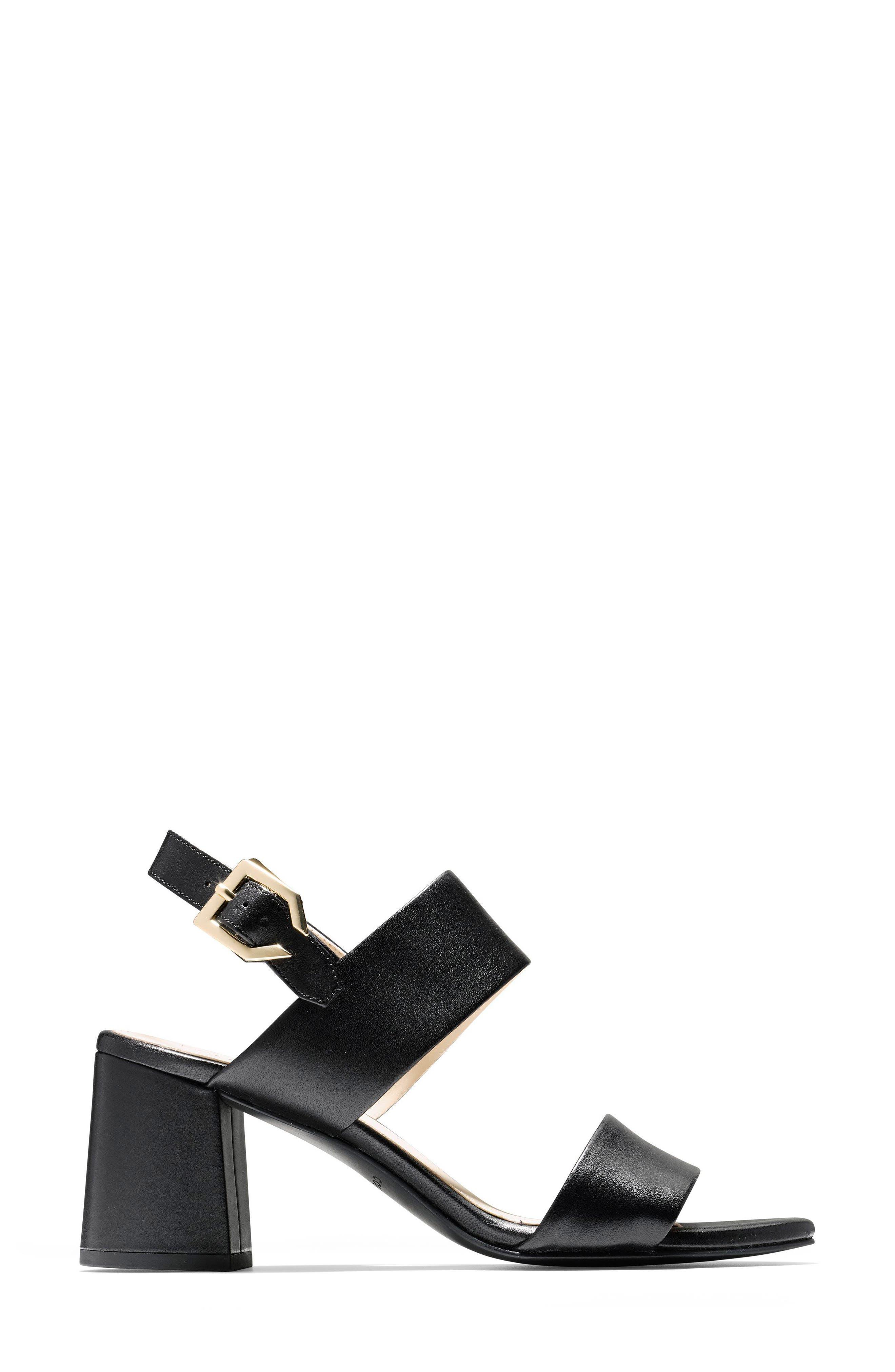 Avani Block Heel Sandal,                             Alternate thumbnail 3, color,                             Black Leather