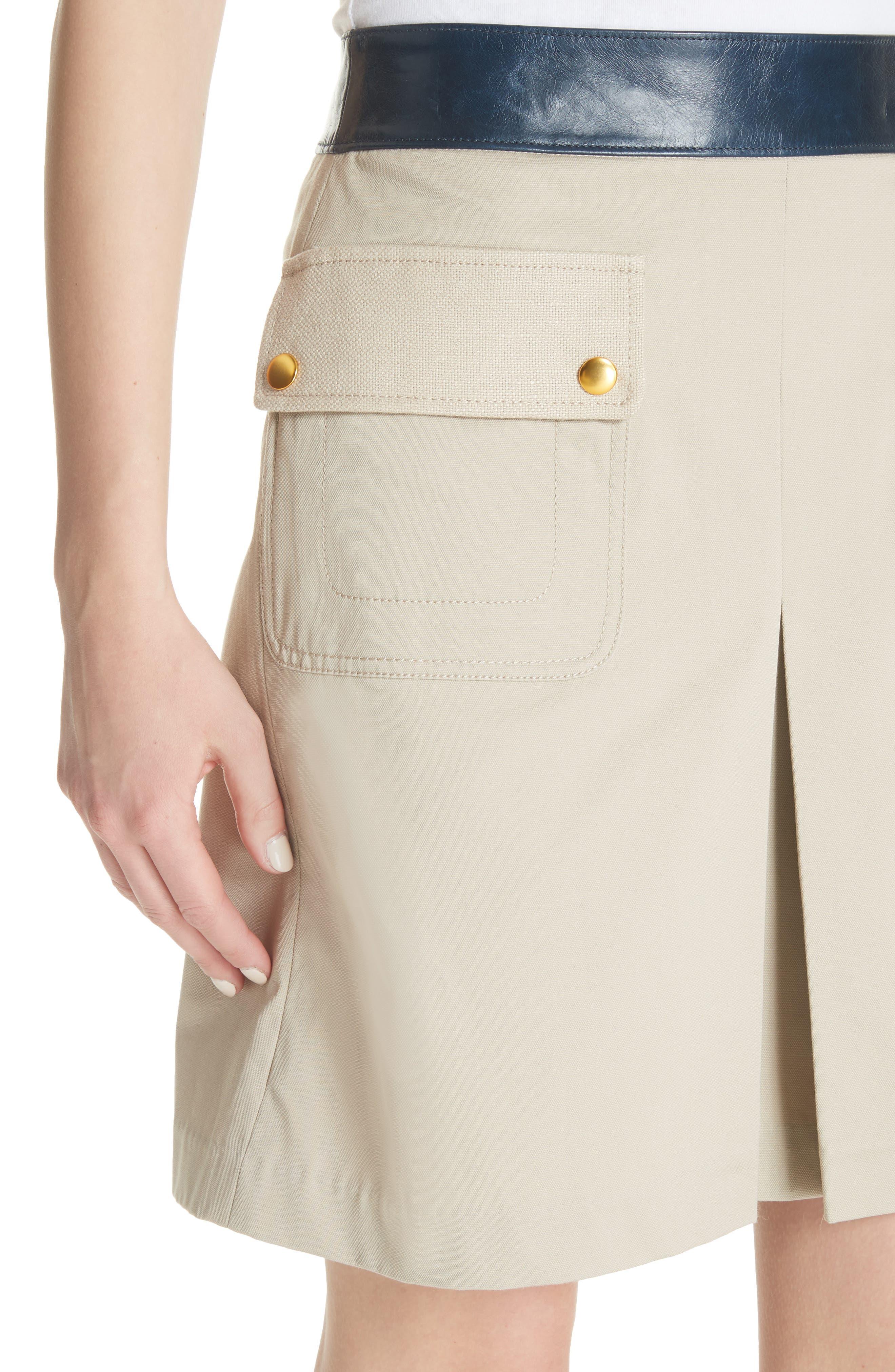 Parker Leather Trim Skirt,                             Alternate thumbnail 4, color,                             Safari