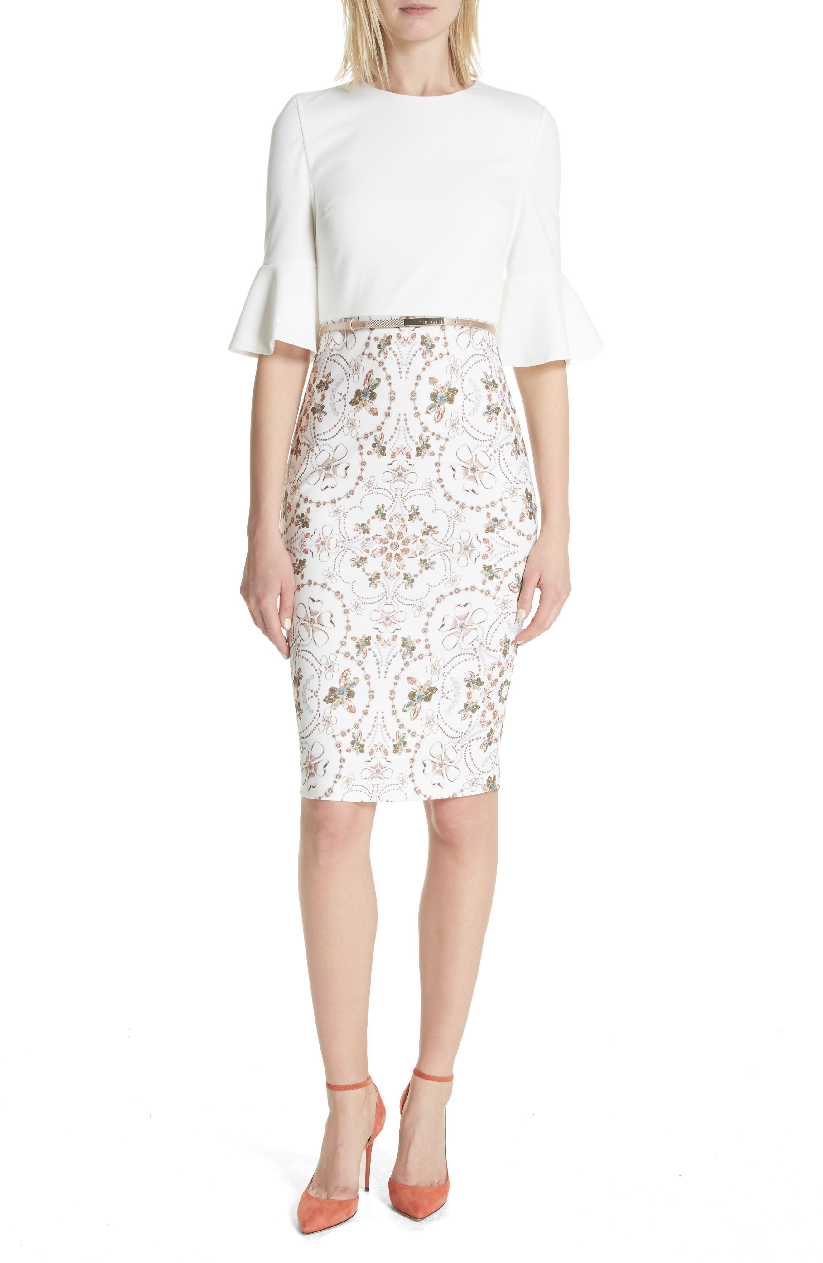 Majestic Contrast Sheath Dress,                         Main,                         color, Ivory