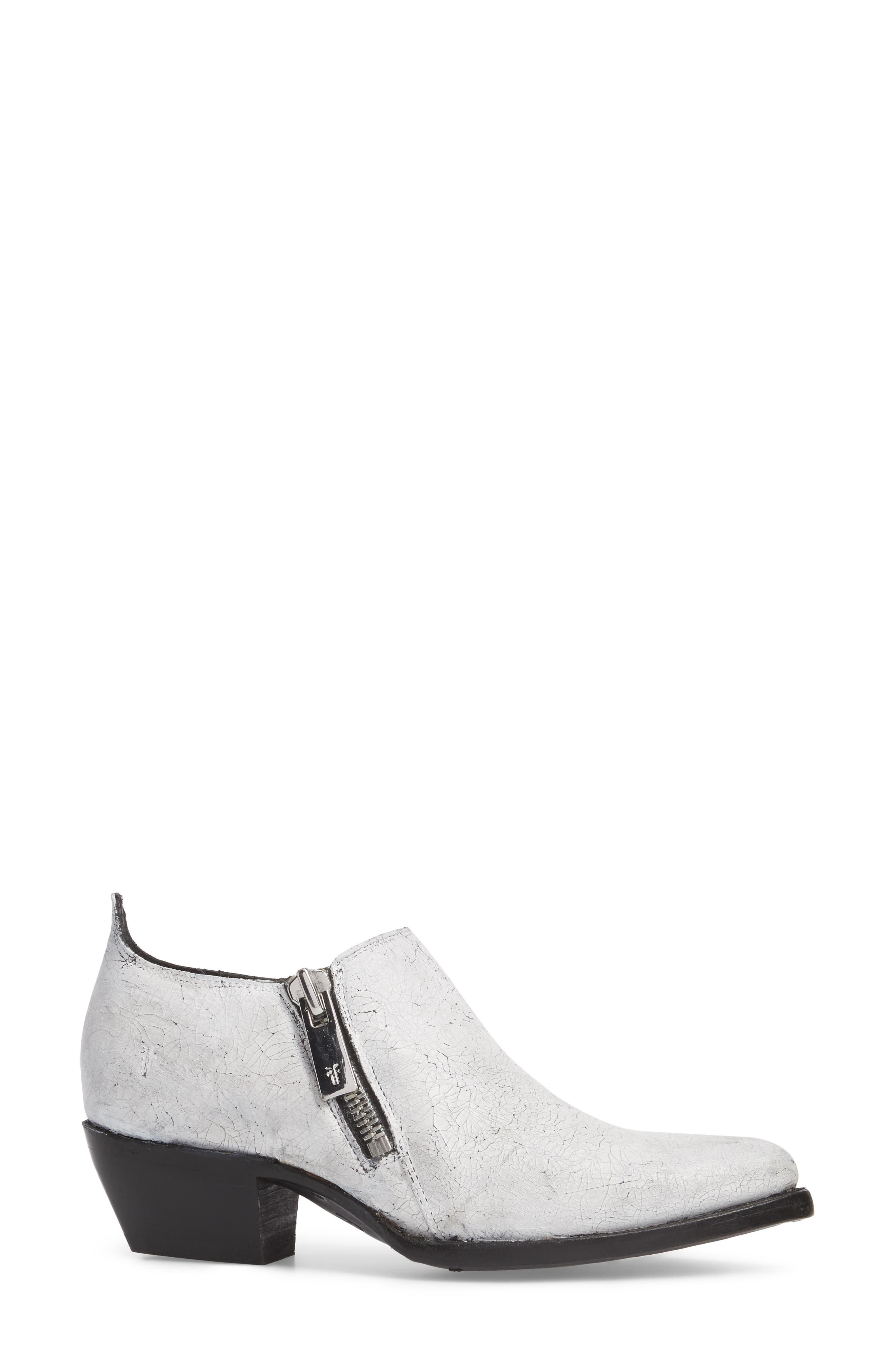 Sacha Double Zip Bootie,                             Alternate thumbnail 3, color,                             White