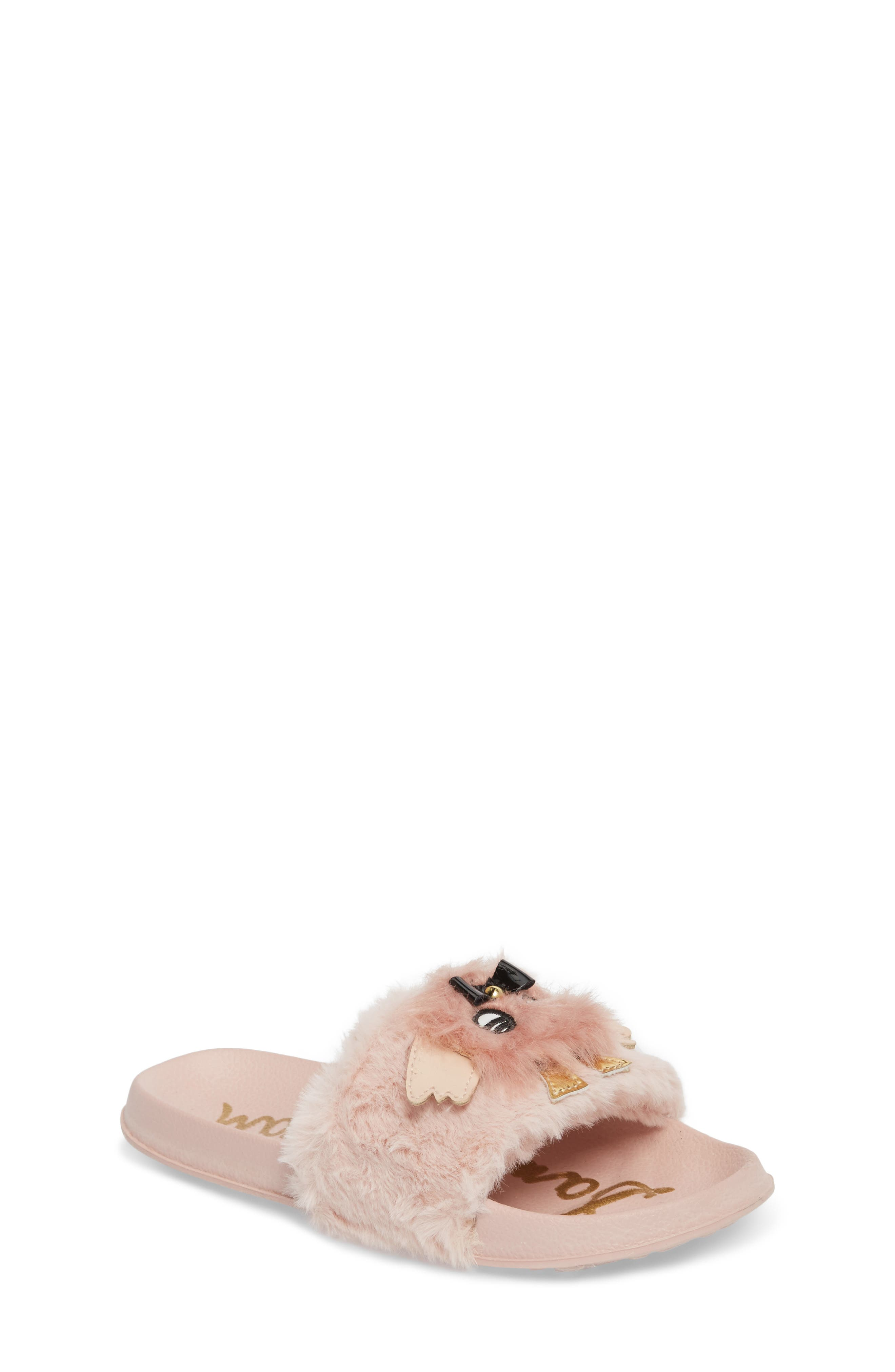 Mackie Furry Faux Fur Slide Sandal,                             Main thumbnail 1, color,                             Blush Faux Fur