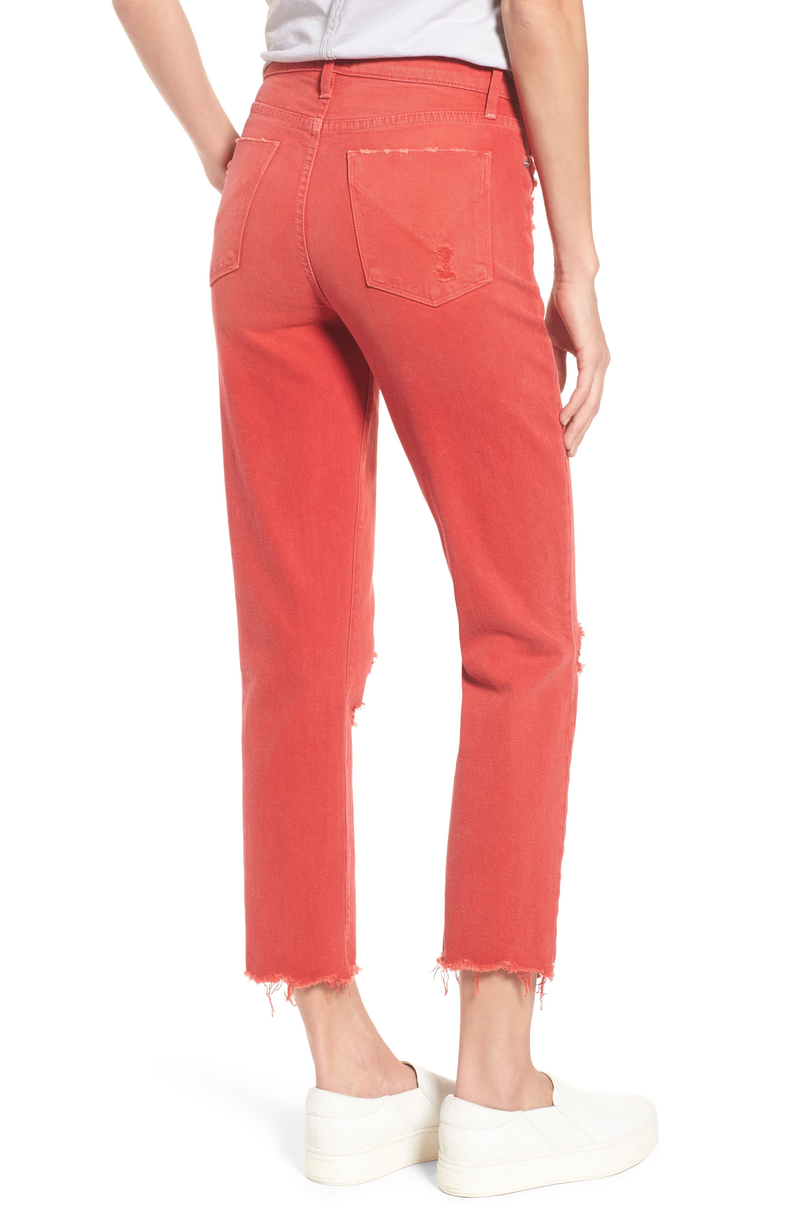 Zoeey Crop Straight Leg Jeans,                             Alternate thumbnail 2, color,                             Red Alert
