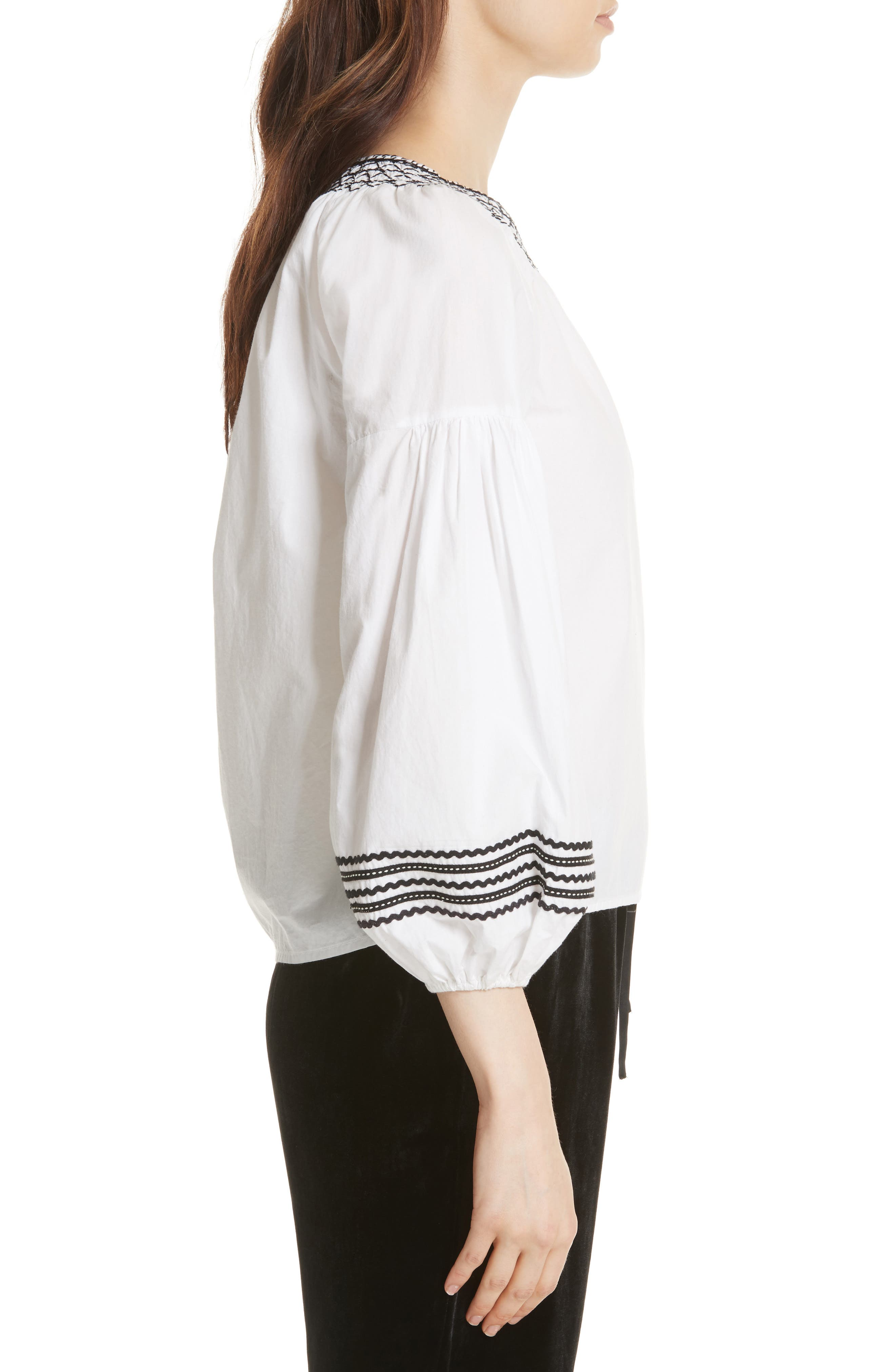 Ghada Peasant Top,                             Alternate thumbnail 3, color,                             Clean White
