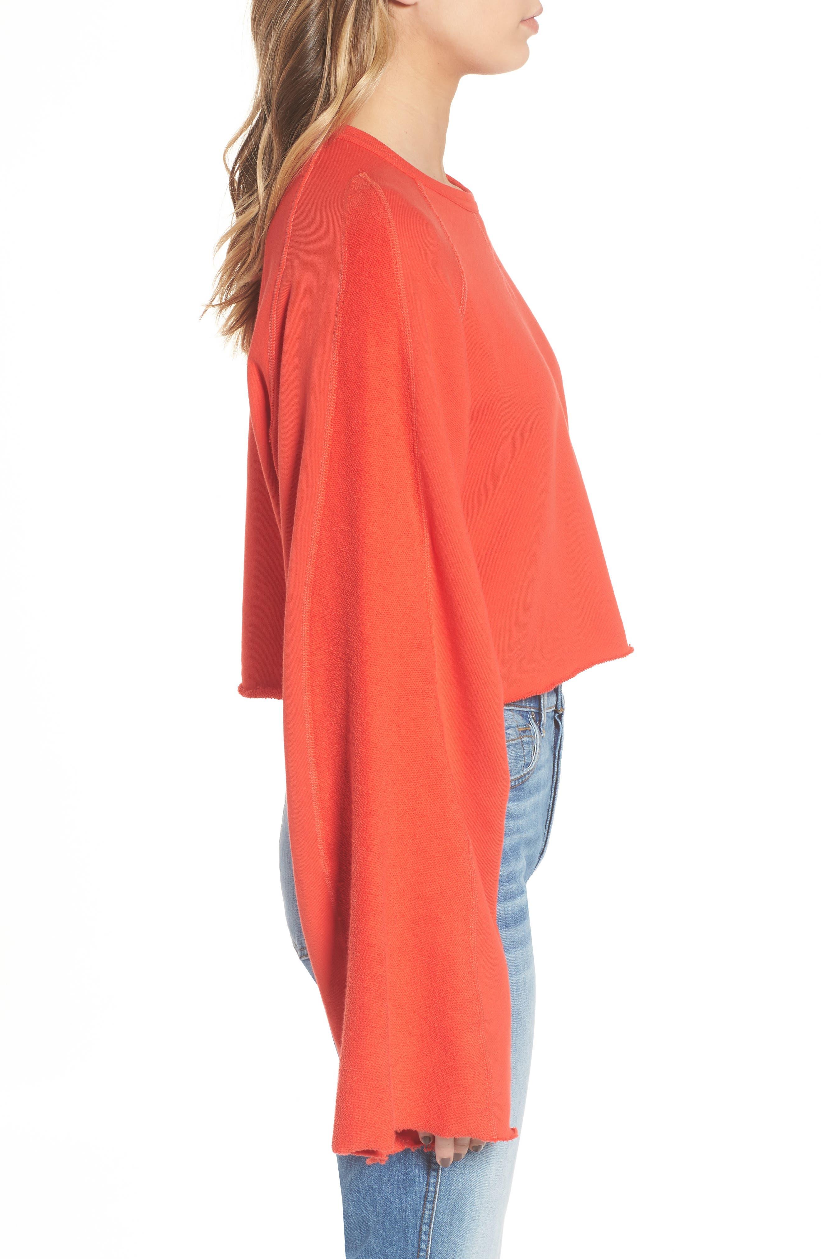 Alternate Image 3  - 7 For All Mankind® Flare Sleeve Crop Sweatshirt