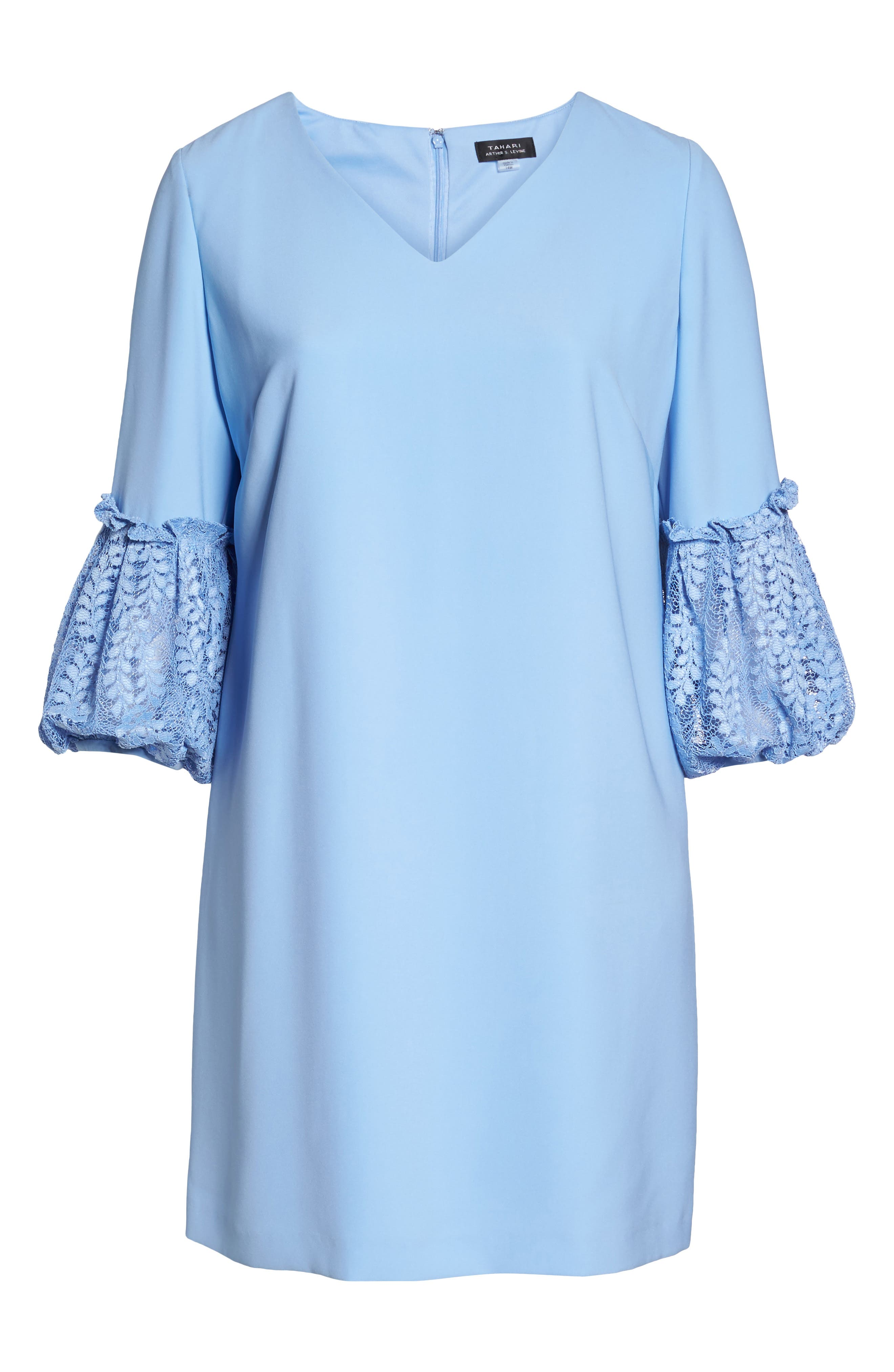 Lace Bell Sleeve Shift Dress,                             Alternate thumbnail 6, color,                             Periwinkle