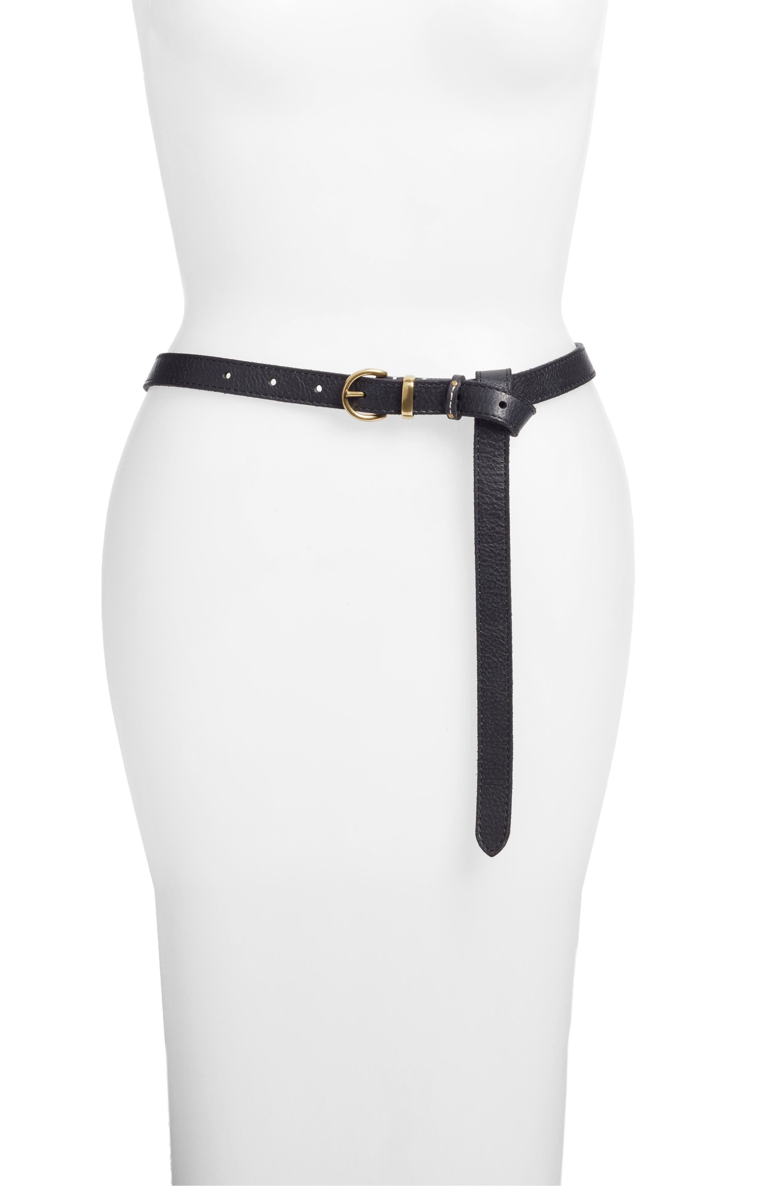 Campus Knotted Leather Belt,                         Main,                         color, Black