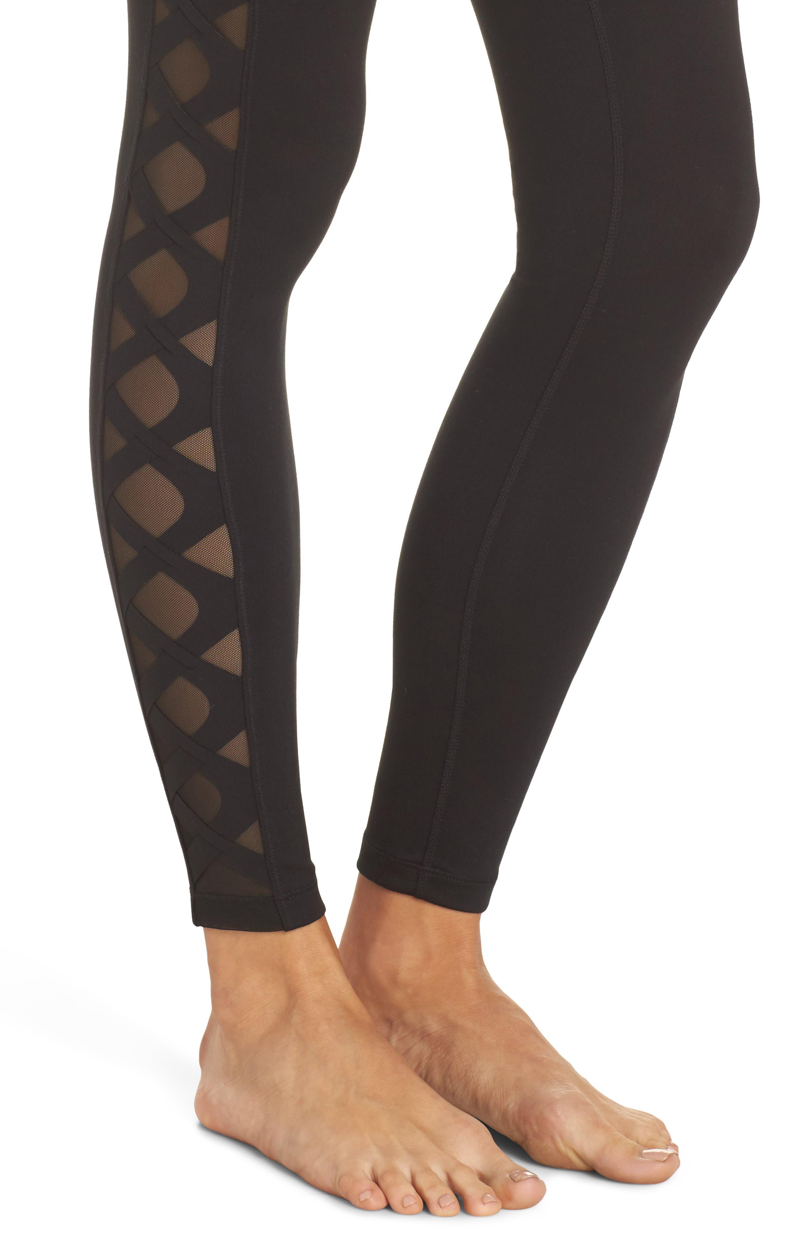 Laser Cut High Waist Leggings,                             Alternate thumbnail 4, color,                             Black