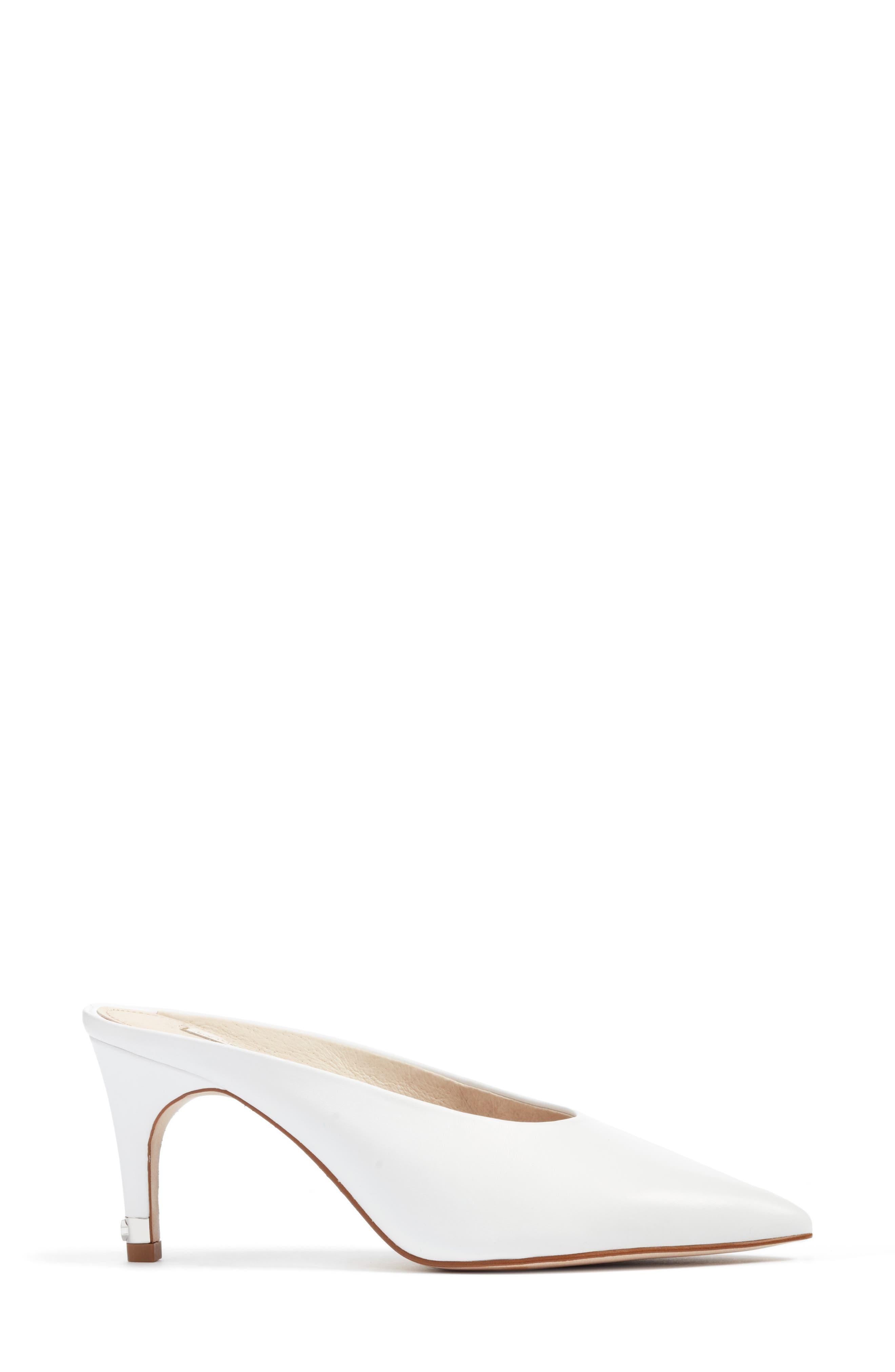 Karas Pointy Toe Slide Pump,                             Alternate thumbnail 3, color,                             White Leather