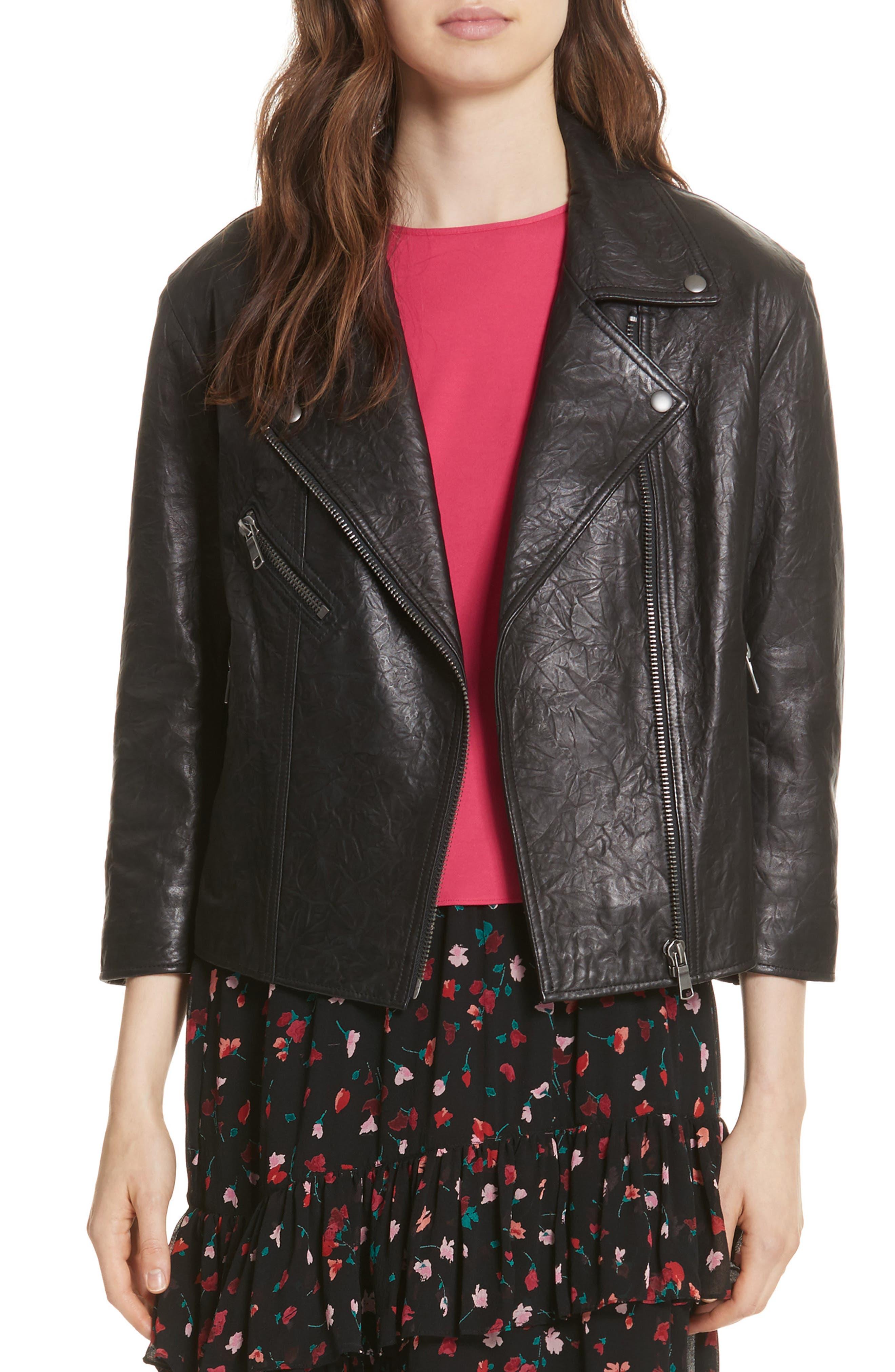 Kameke Viva La Femme Lambskin Leather Jacket,                             Main thumbnail 1, color,                             Caviar