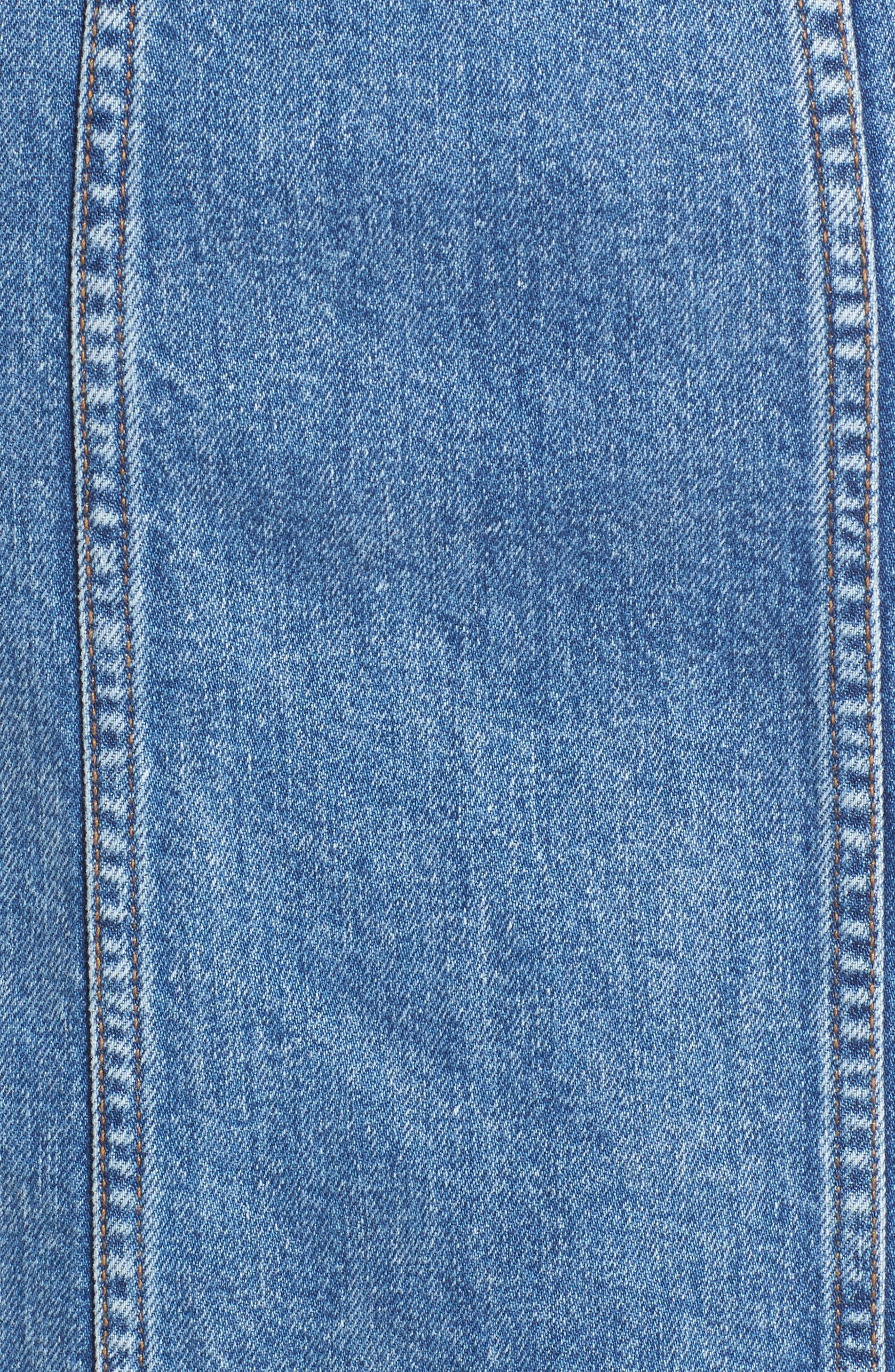 Trucker Denim Midi Dress,                             Alternate thumbnail 5, color,                             Desert Oasis 6