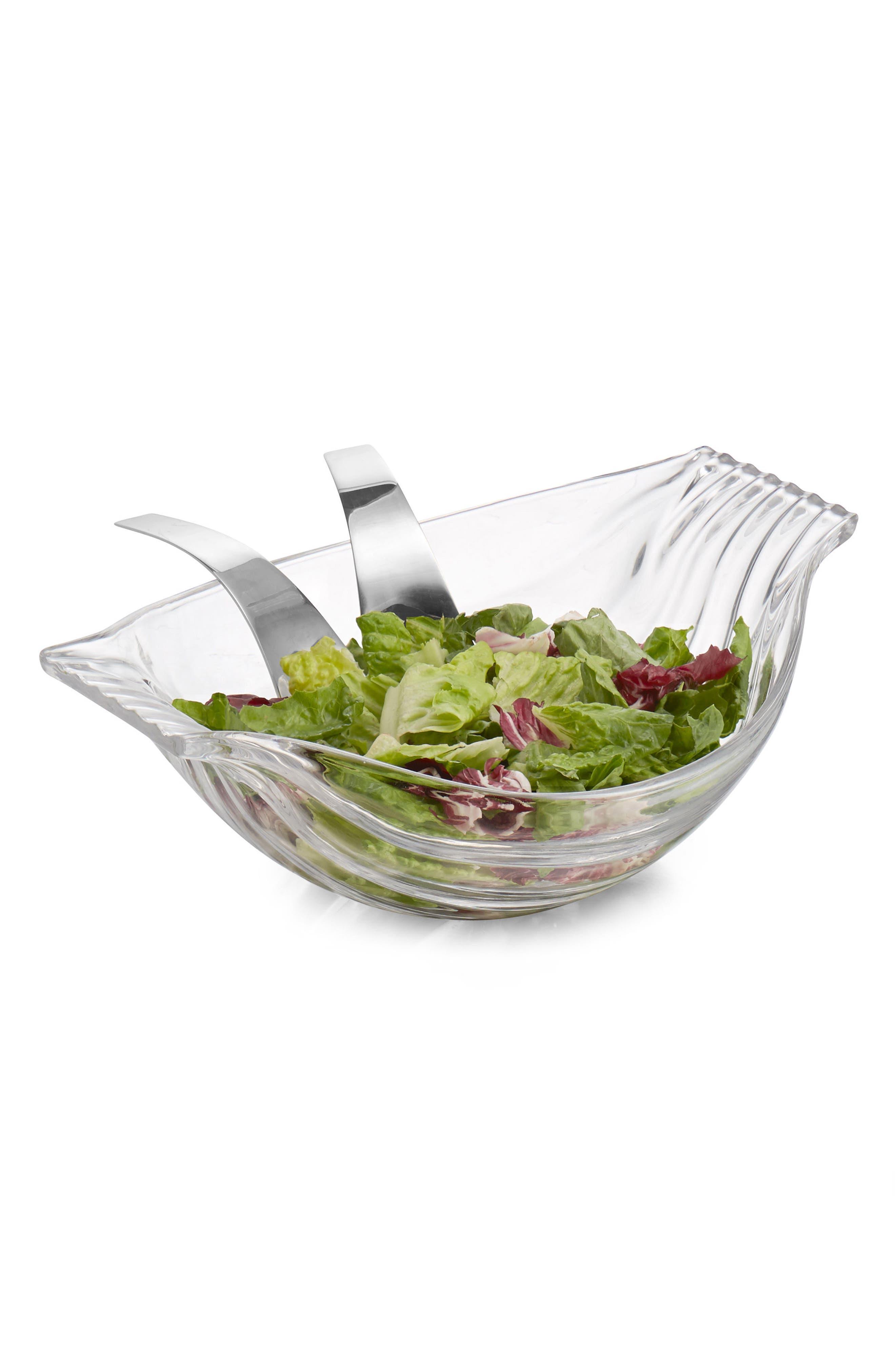 Drift Glass Salad Bowl & Servers,                             Alternate thumbnail 3, color,                             Clear Silver