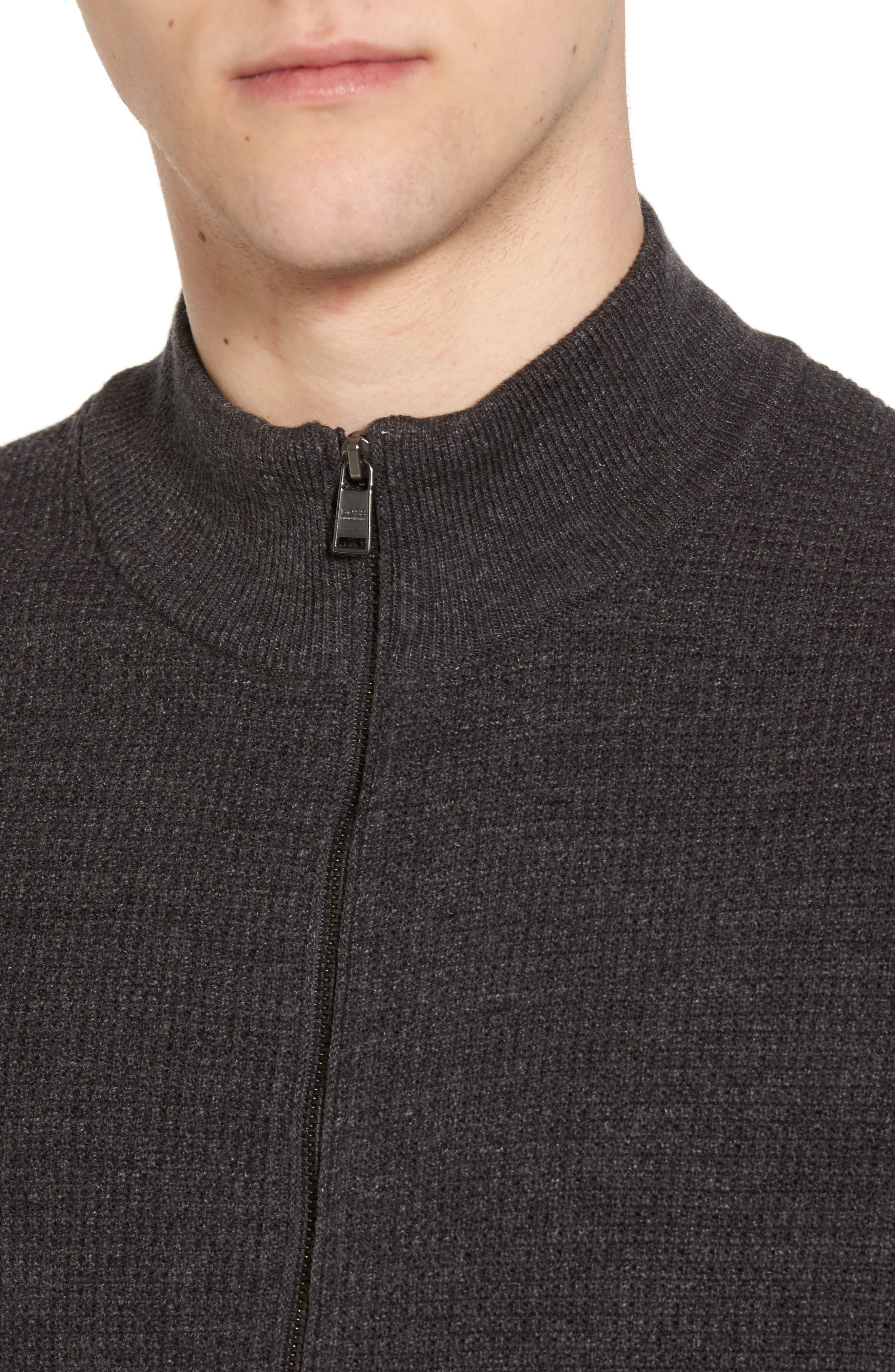 Devino Cotton Zip Jacket,                             Alternate thumbnail 4, color,                             Grey