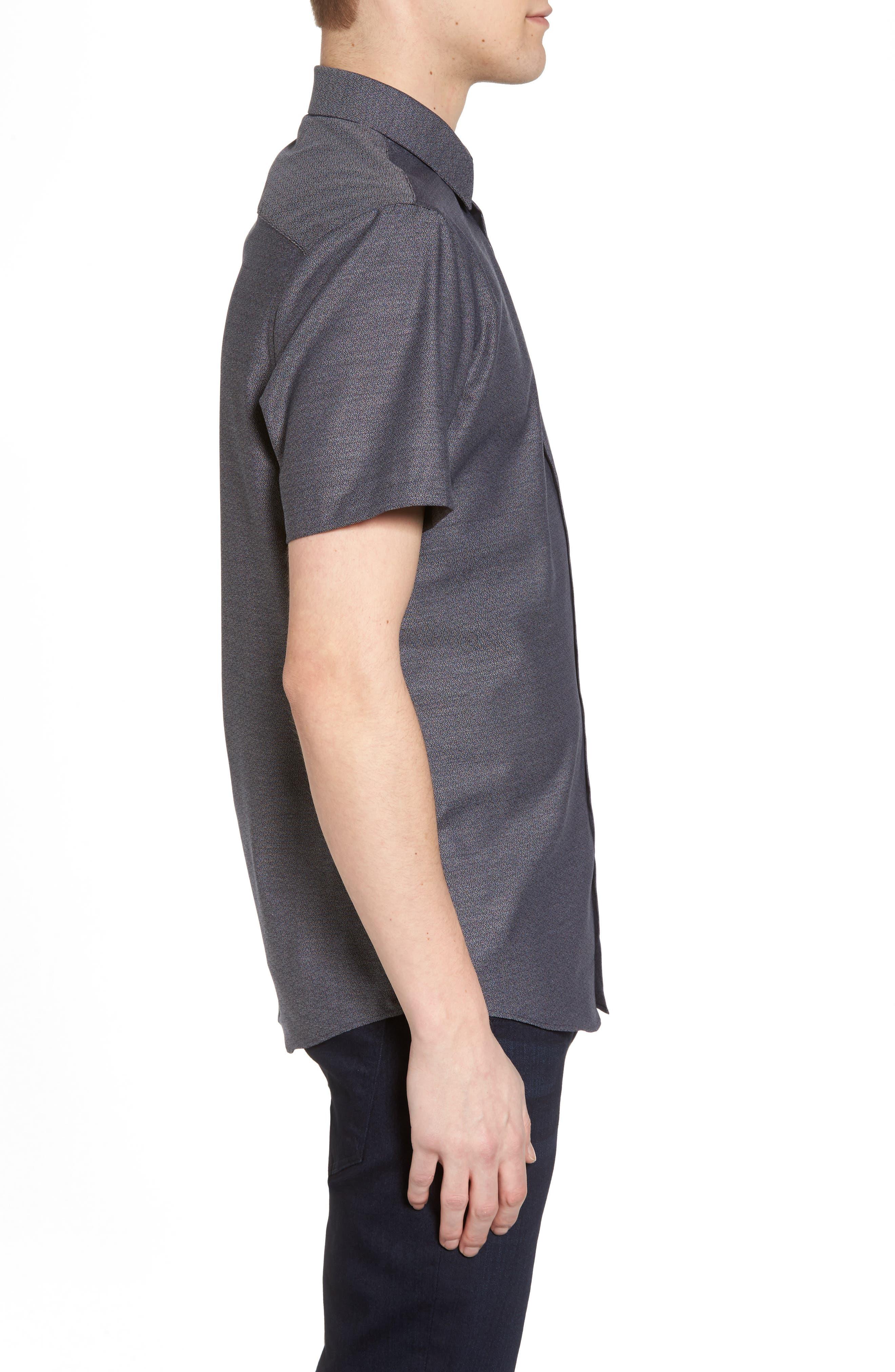Trim Fit Jaspé Short Sleeve Sport Shirt,                             Alternate thumbnail 4, color,                             Navy Night Jacquard