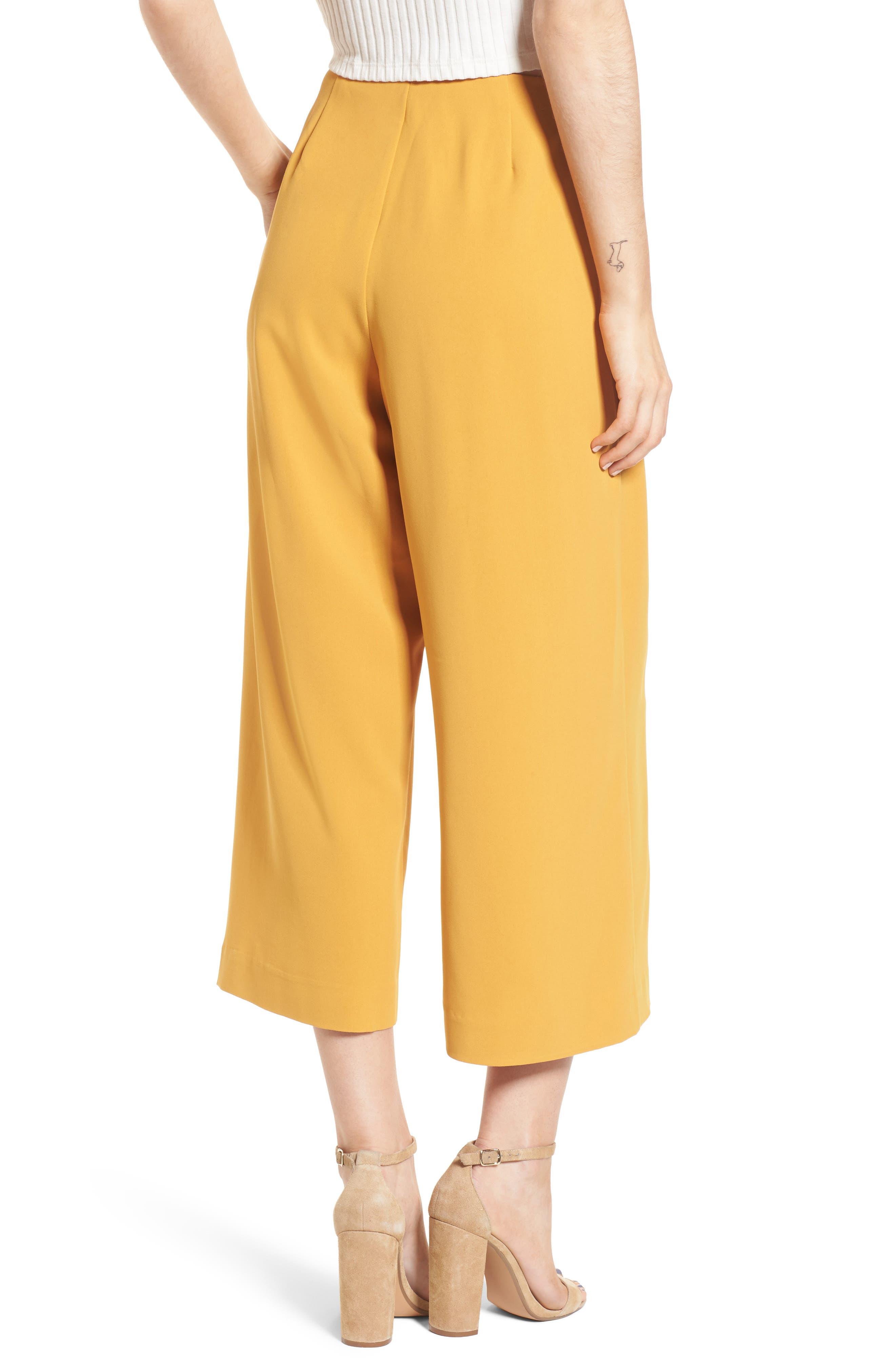 Crop Tie Waist Pants,                             Alternate thumbnail 3, color,                             Marigold