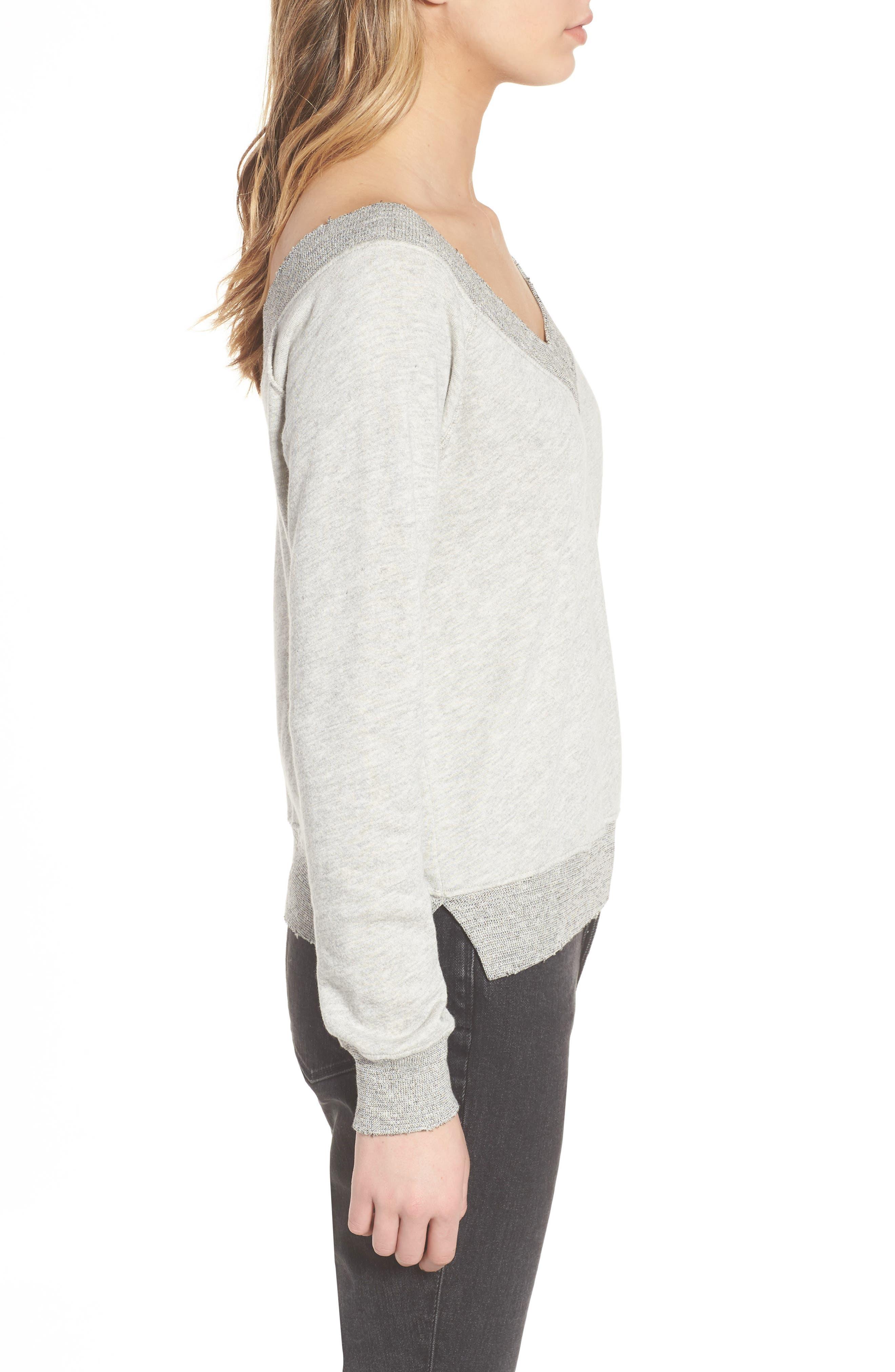 Mayer V-Neck Sweatshirt,                             Alternate thumbnail 3, color,                             Heather Grey