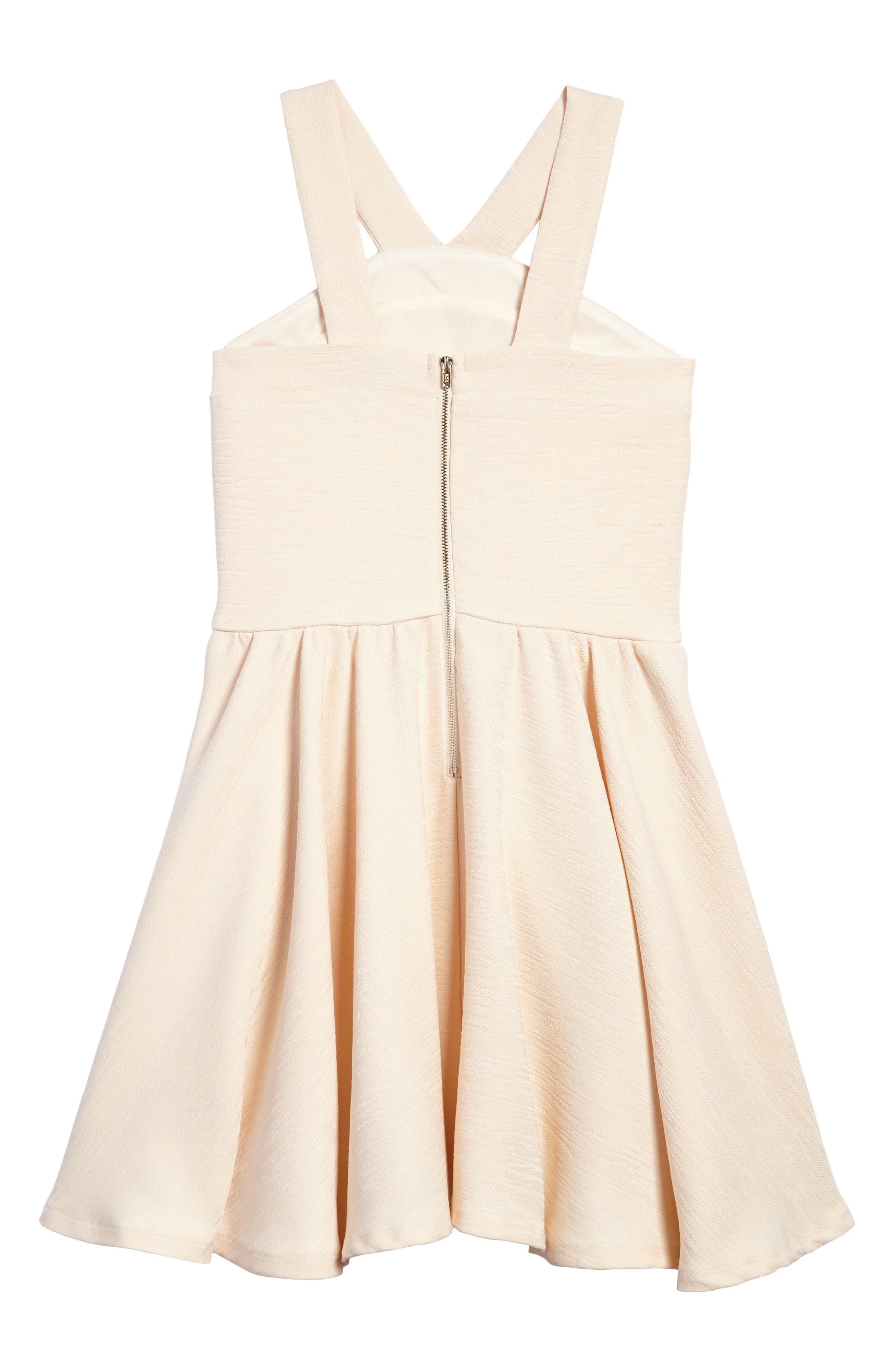 Stephanie Halter Dress,                             Alternate thumbnail 2, color,                             Beige