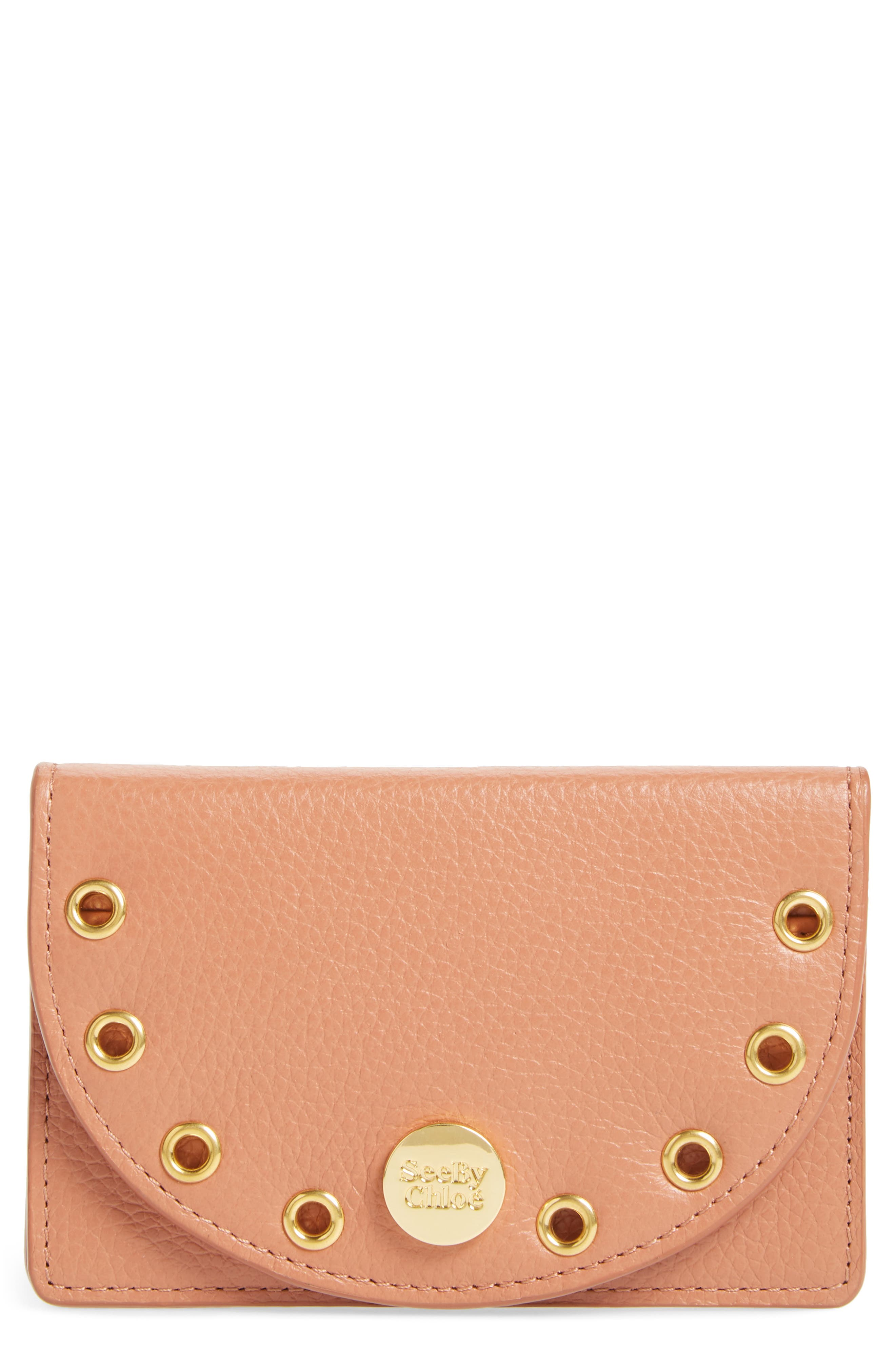 Alternate Image 1 Selected - See by Chloé Kriss Grommet Leather Card Wallet
