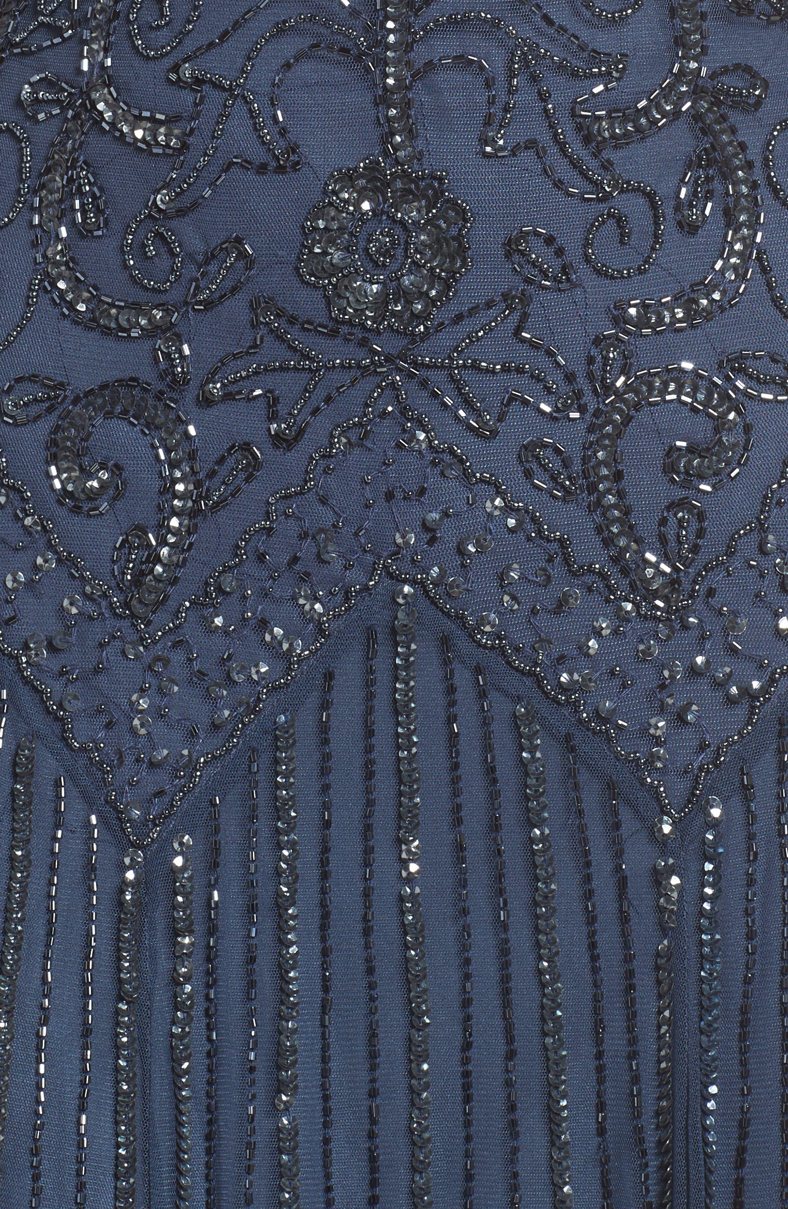 Beaded Mesh Tea Length Dress,                             Alternate thumbnail 5, color,                             Blue