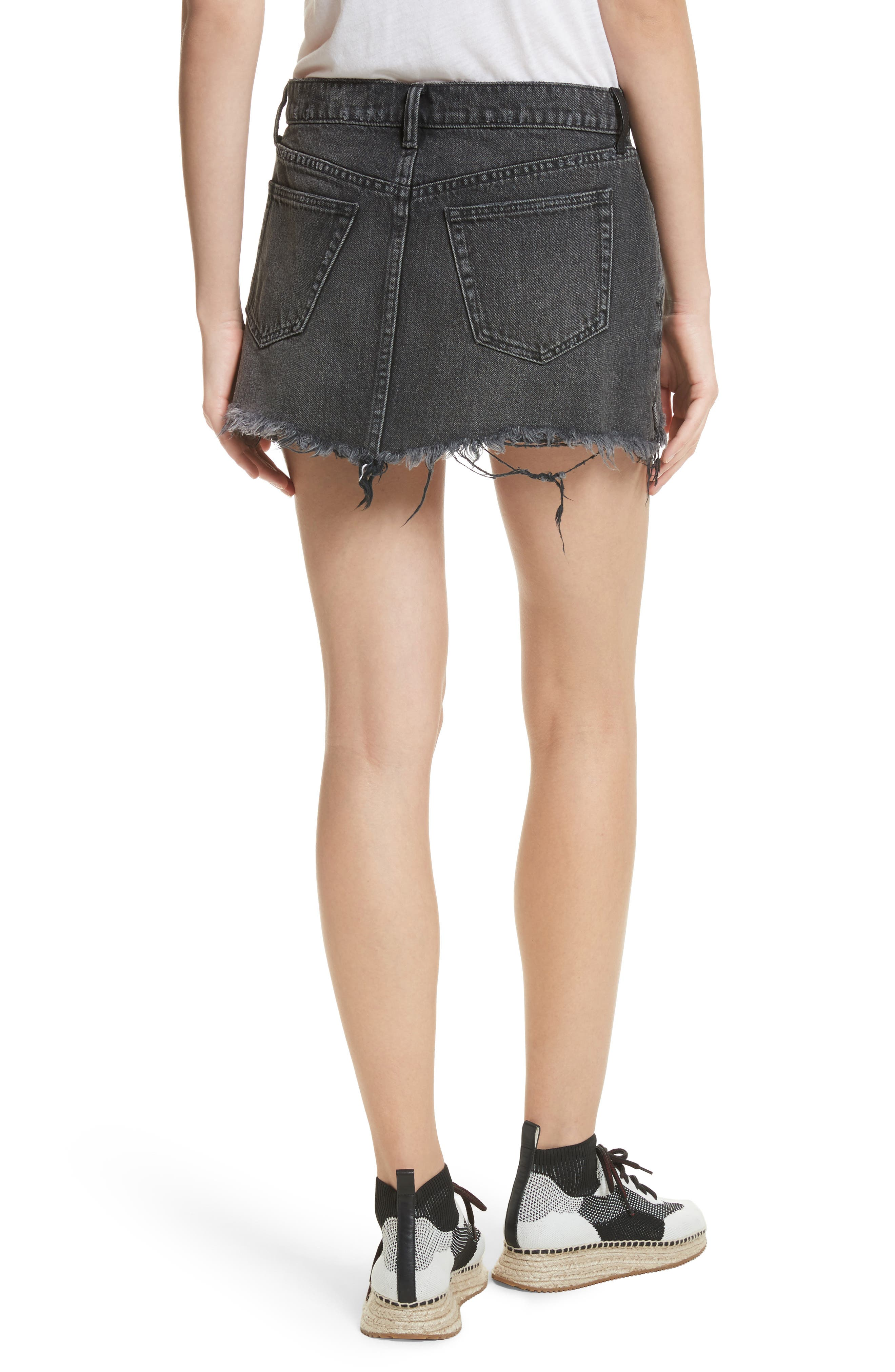 Alternate Image 2  - T by Alexander Wang Destroyed Hem Denim Skirt
