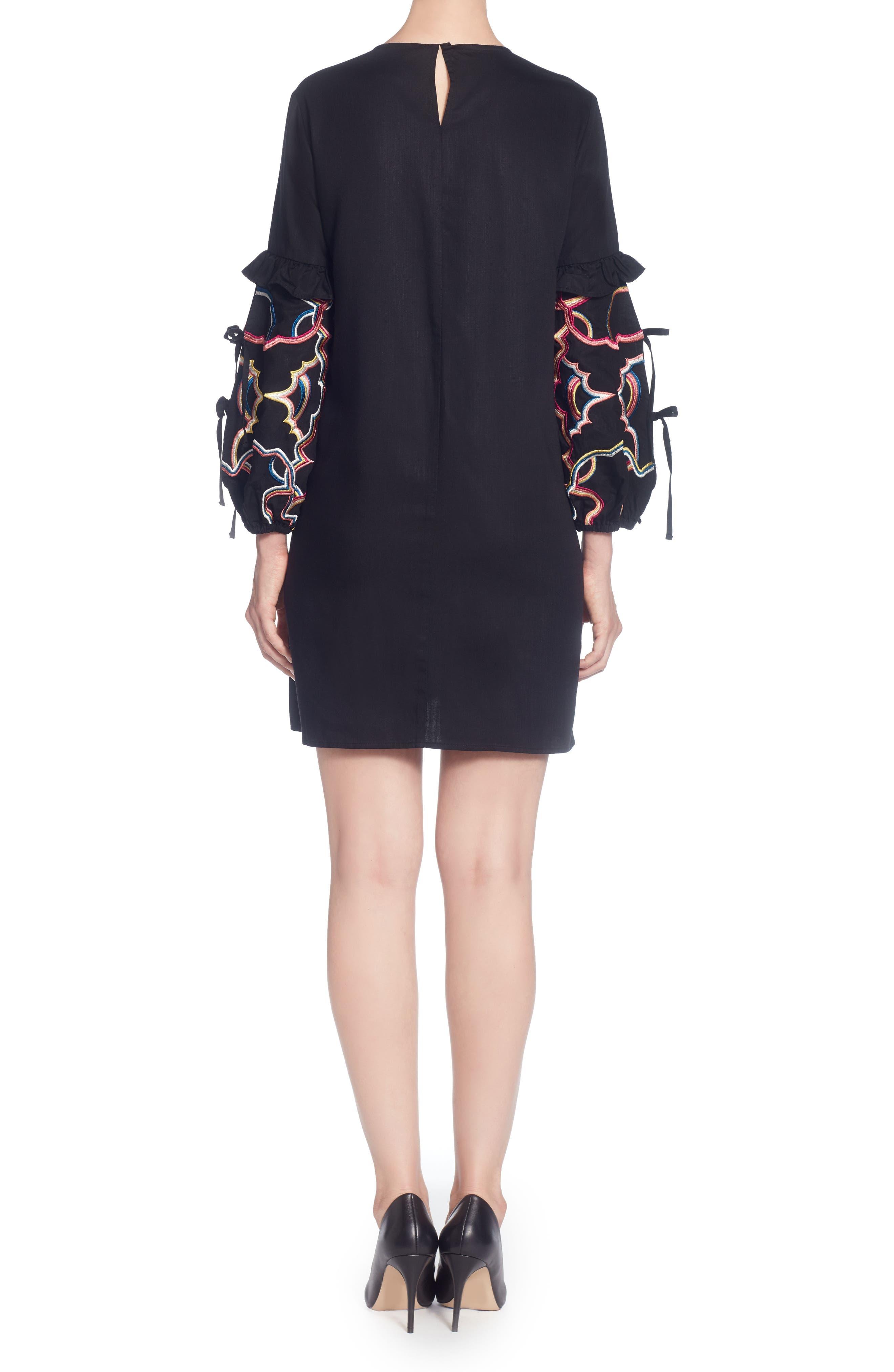 Dahl Embroidered Sleeve Dress,                             Alternate thumbnail 2, color,                             Black