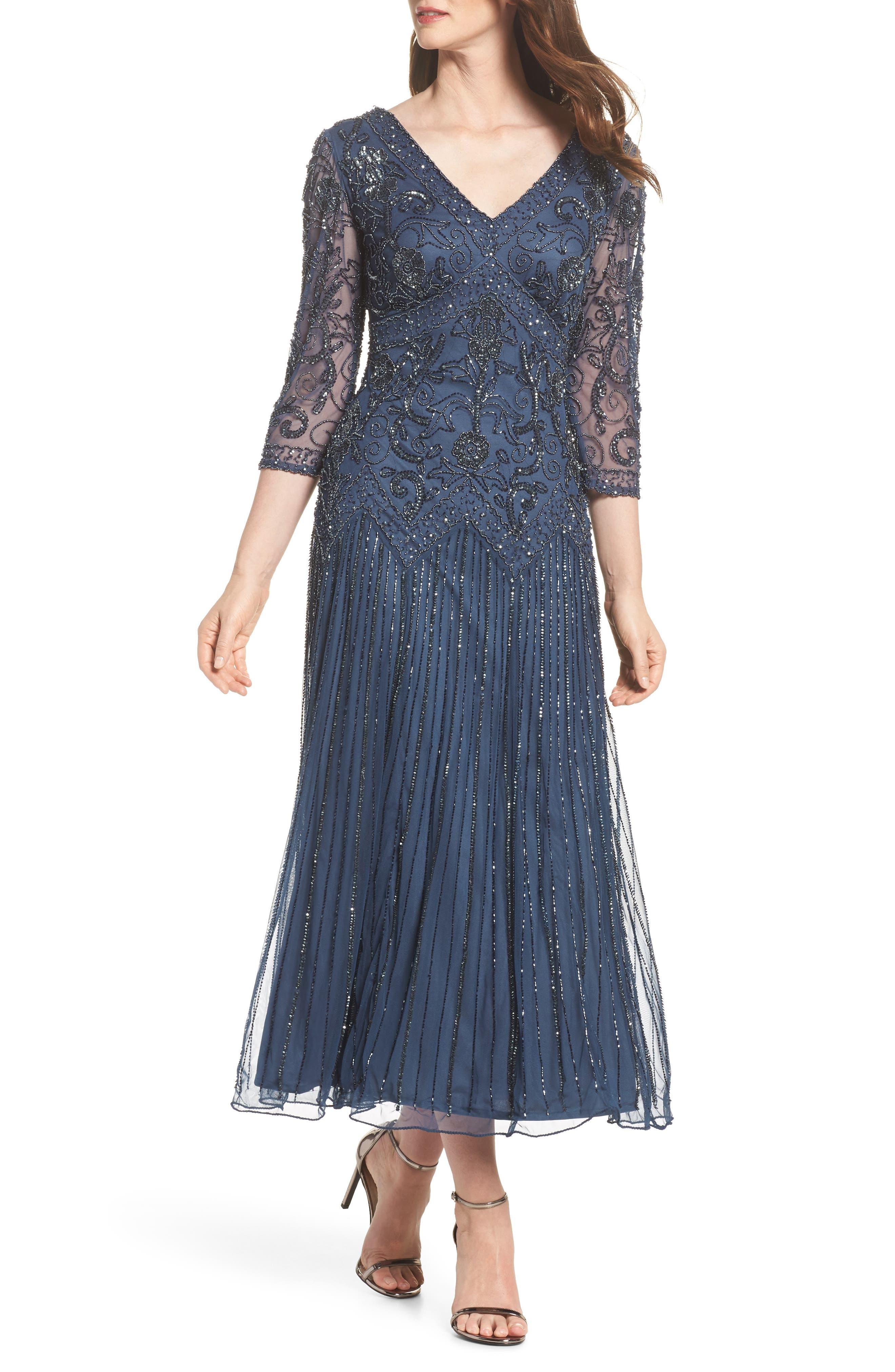 Beaded Mesh Tea Length Dress,                             Main thumbnail 1, color,                             Blue