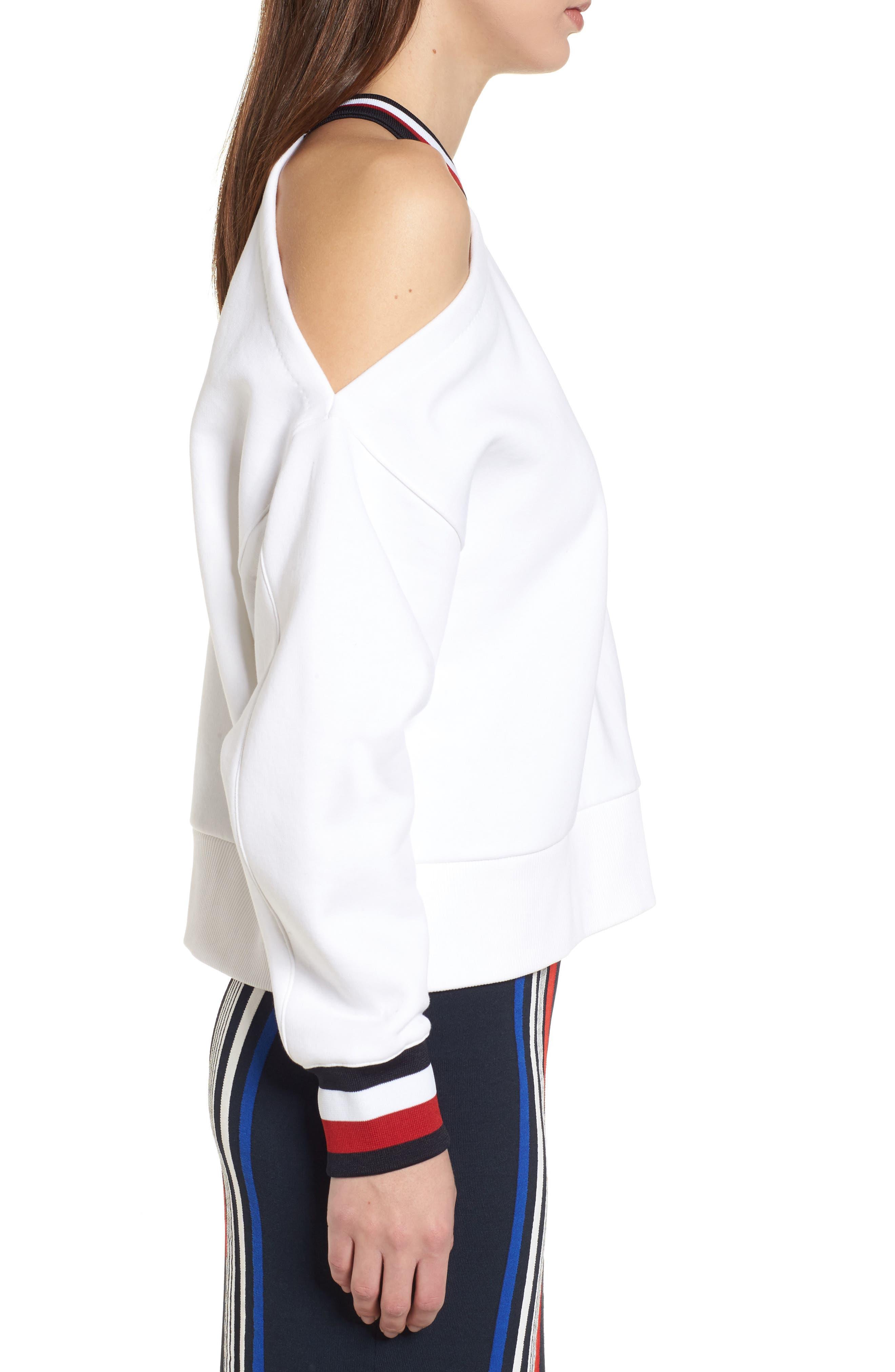x Gigi Hadid Cold Shoulder Sweatshirt,                             Alternate thumbnail 5, color,                             Classic White