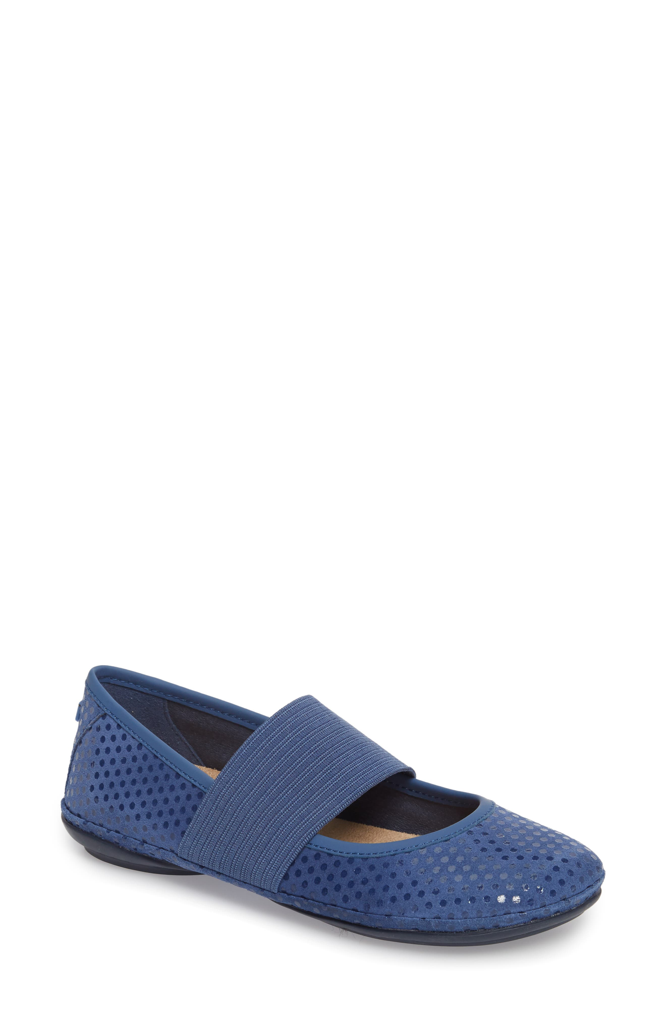 Right Nina Ballerina Flat,                             Main thumbnail 1, color,                             Medium Blue Nubuck