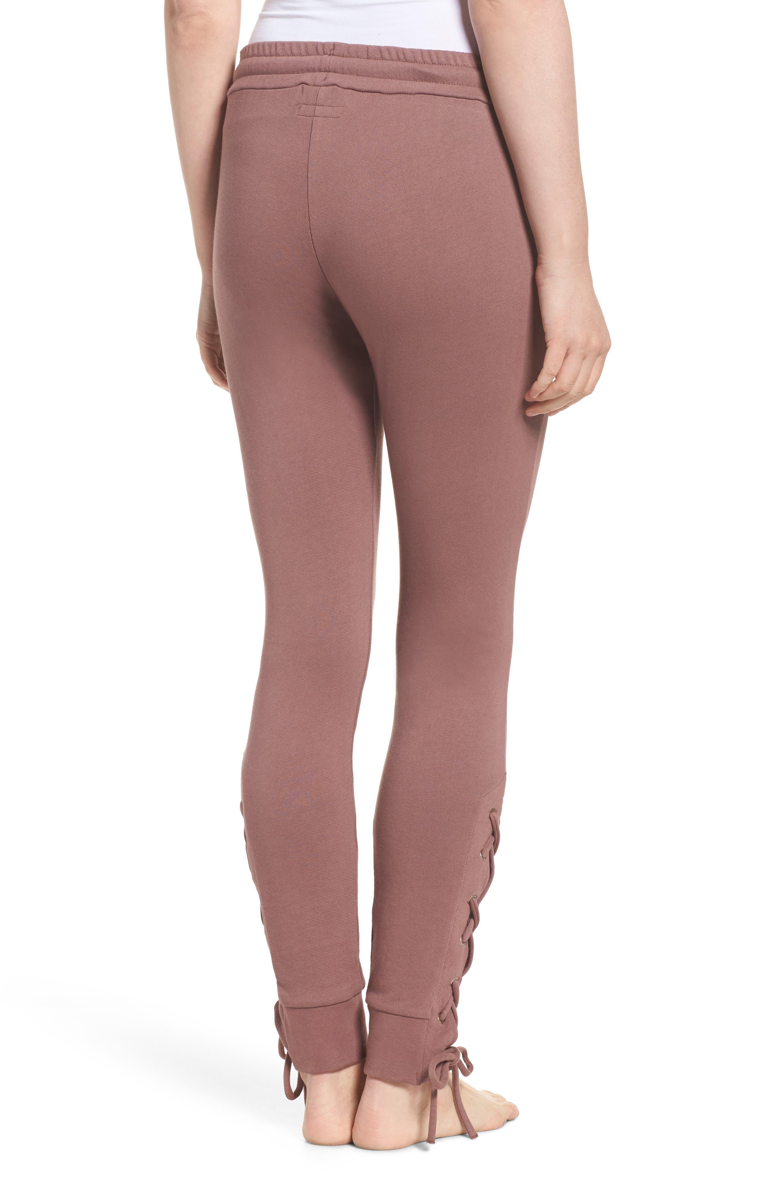 Lace Up Lounge Pants,                             Alternate thumbnail 2, color,                             Deep Mauve