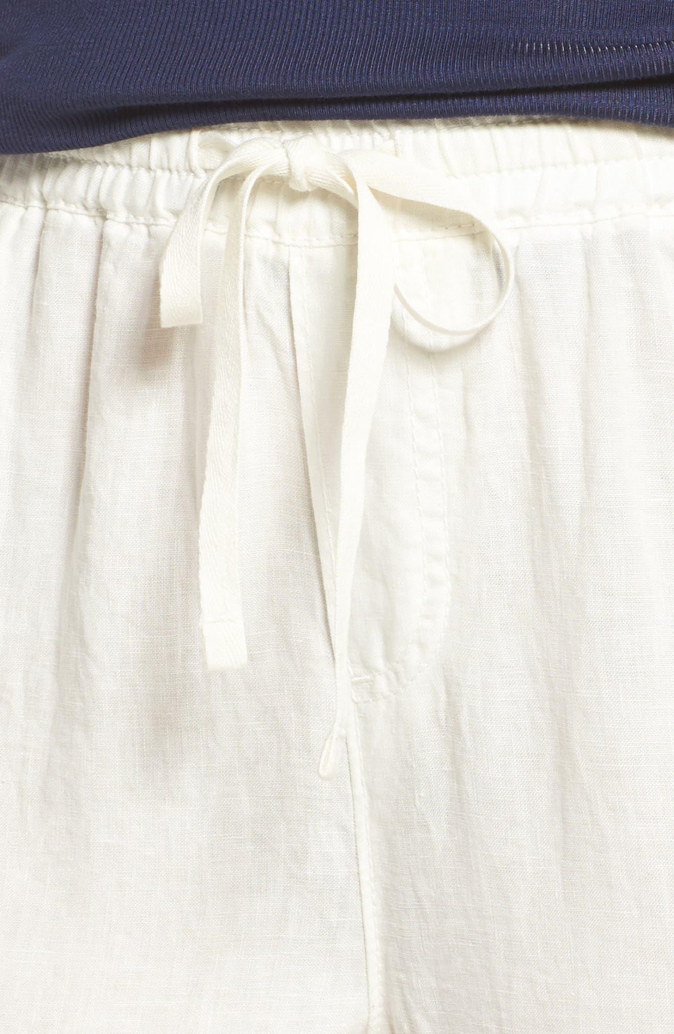 Linen Drawstring Pants,                             Alternate thumbnail 4, color,                             Ivory Cloud
