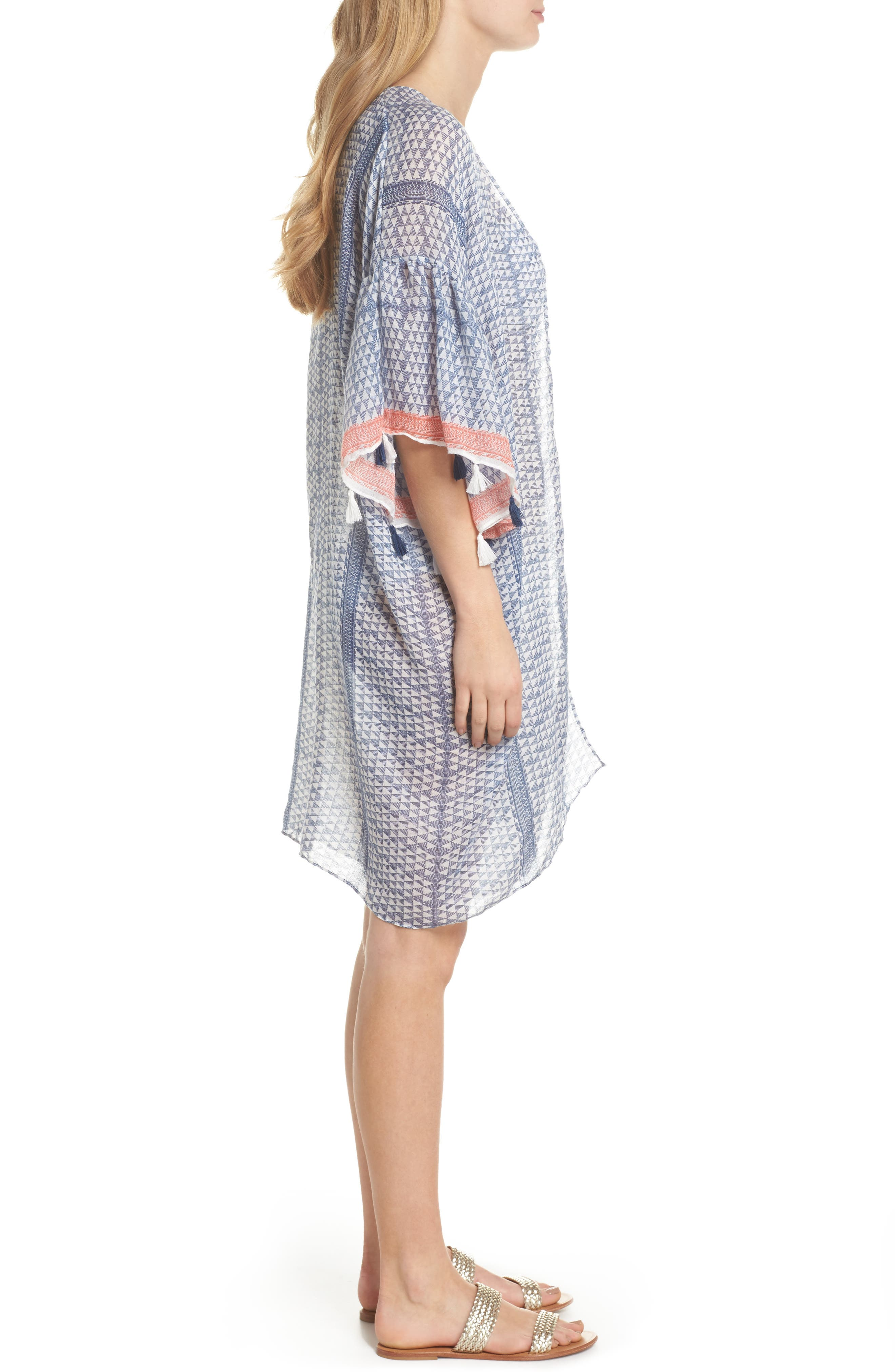 Ruffle Topper Cover-Up,                             Alternate thumbnail 3, color,                             Blu