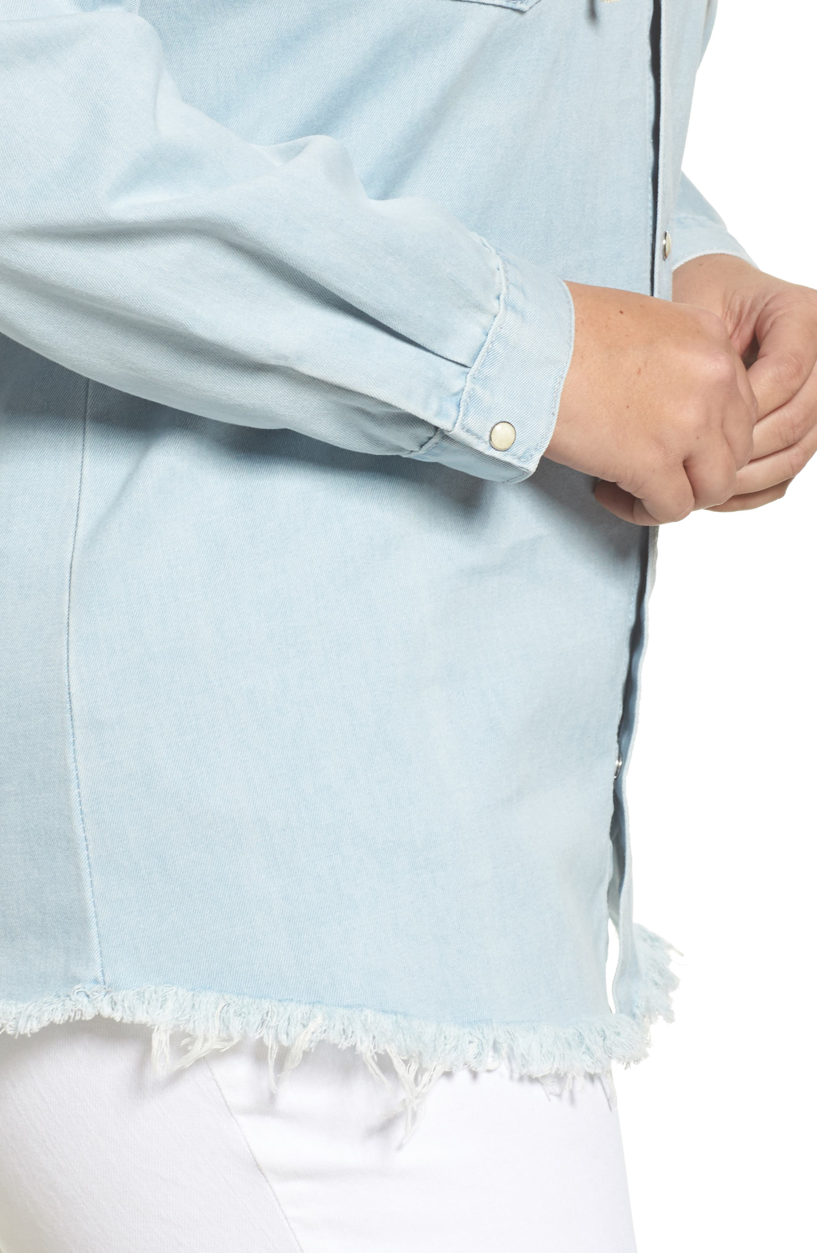 Lace-Up Chambray Top,                             Alternate thumbnail 4, color,                             Light Blue