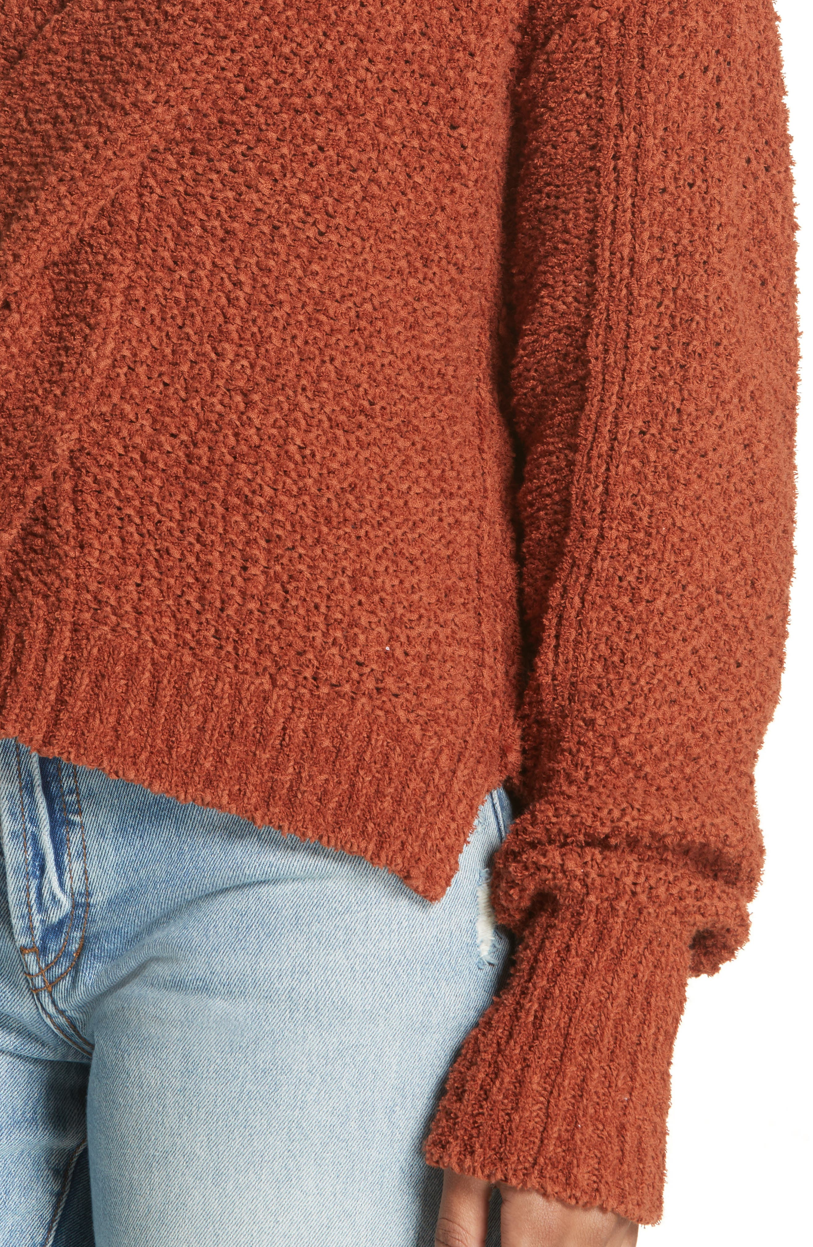 Coco V-Neck Sweater,                             Alternate thumbnail 4, color,                             Terracotta