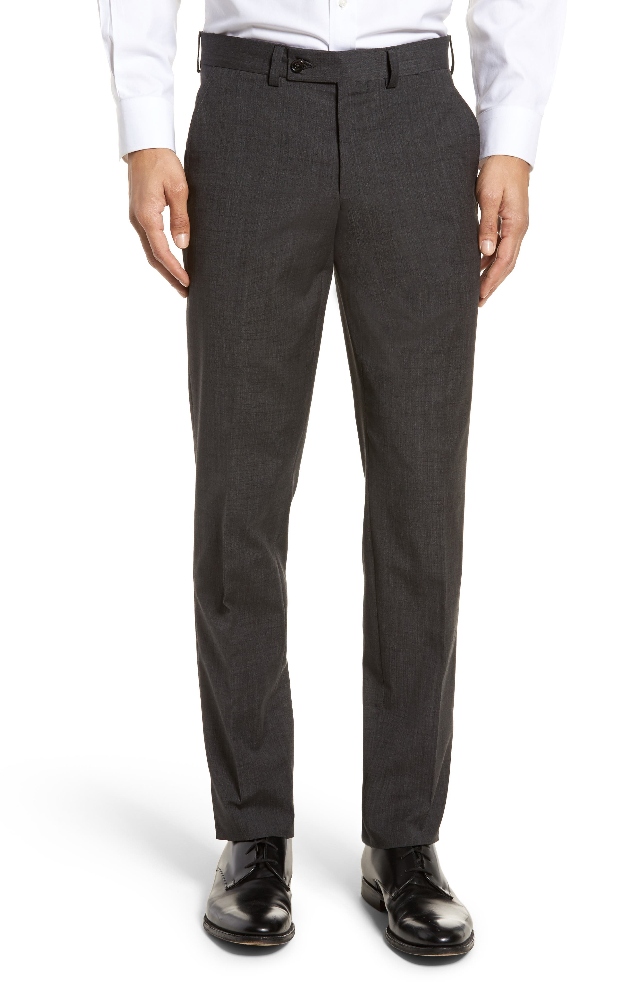 Jerome Flat Front Solid Wool & Cotton Trousers,                             Main thumbnail 1, color,                             Charcoal