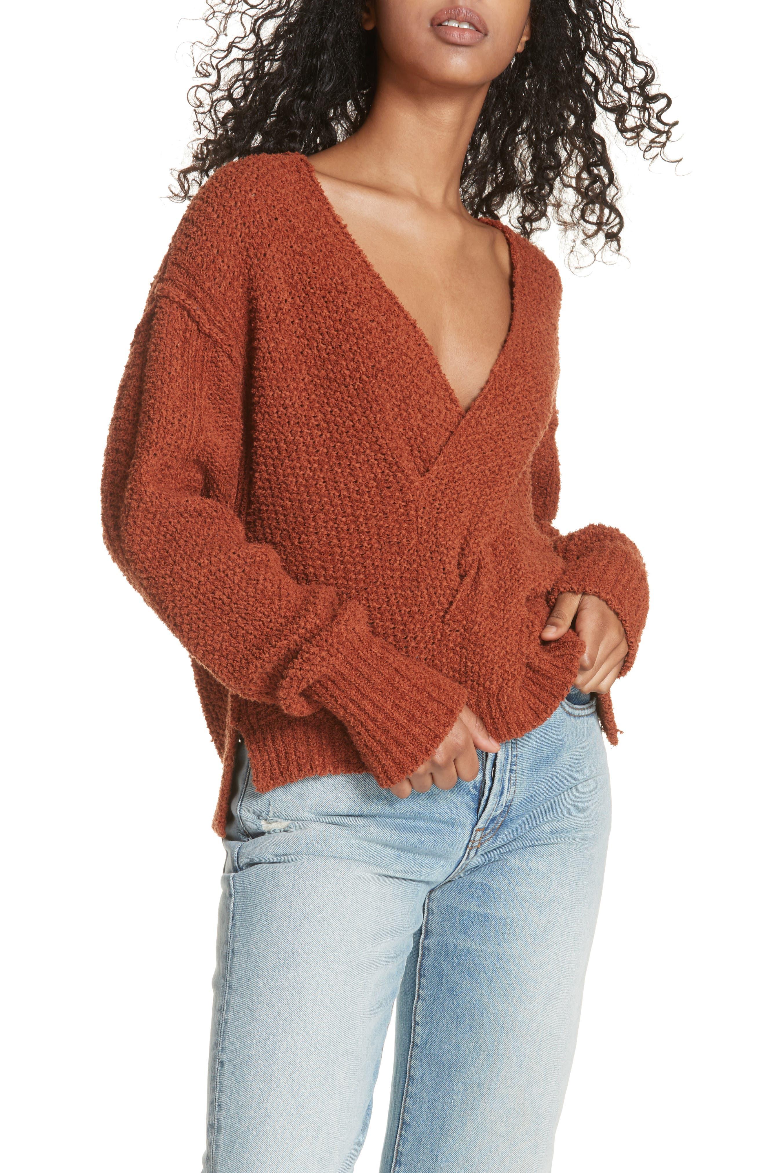 Coco V-Neck Sweater,                             Main thumbnail 1, color,                             Terracotta