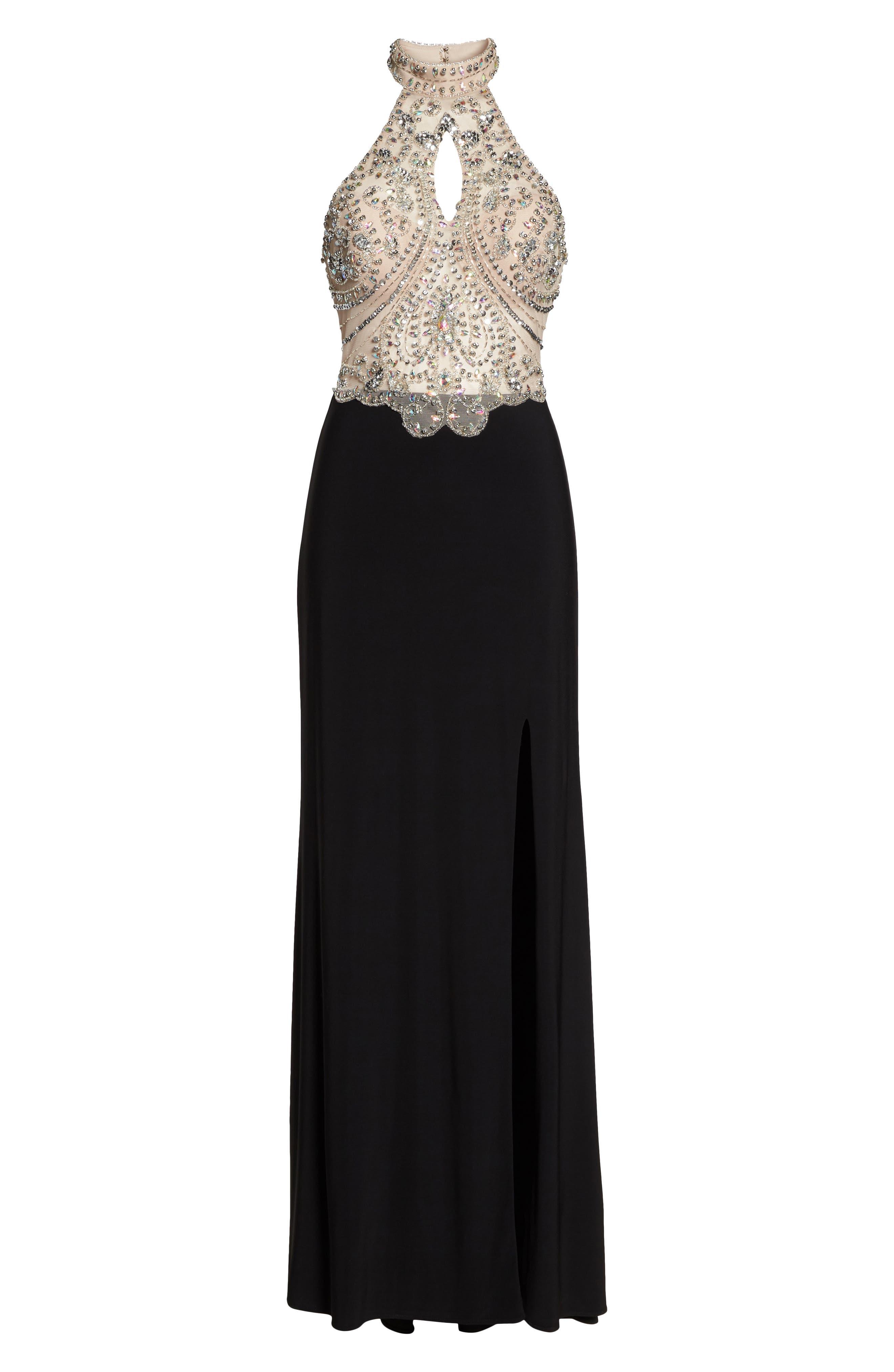 Embellished Bodice Halter Knit Gown,                             Alternate thumbnail 6, color,                             Nude/ Black