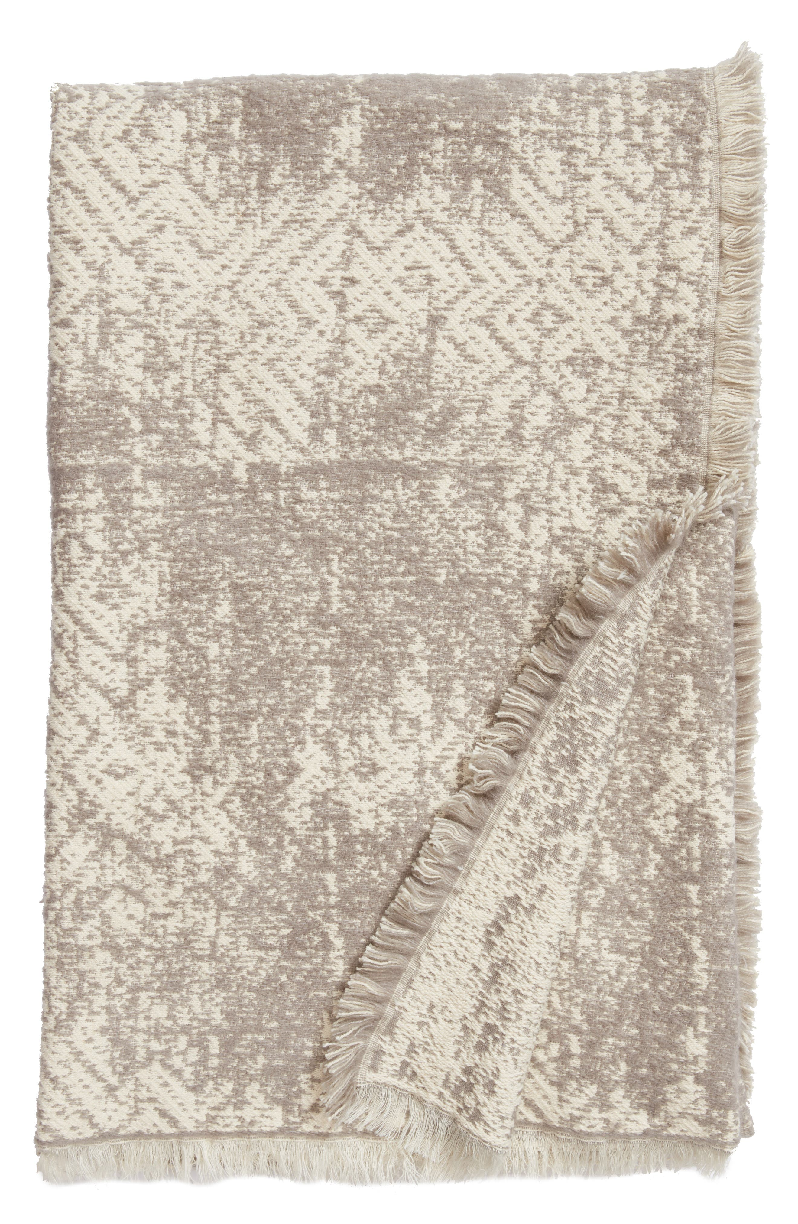 Distressed Geo Throw,                         Main,                         color, Ivory