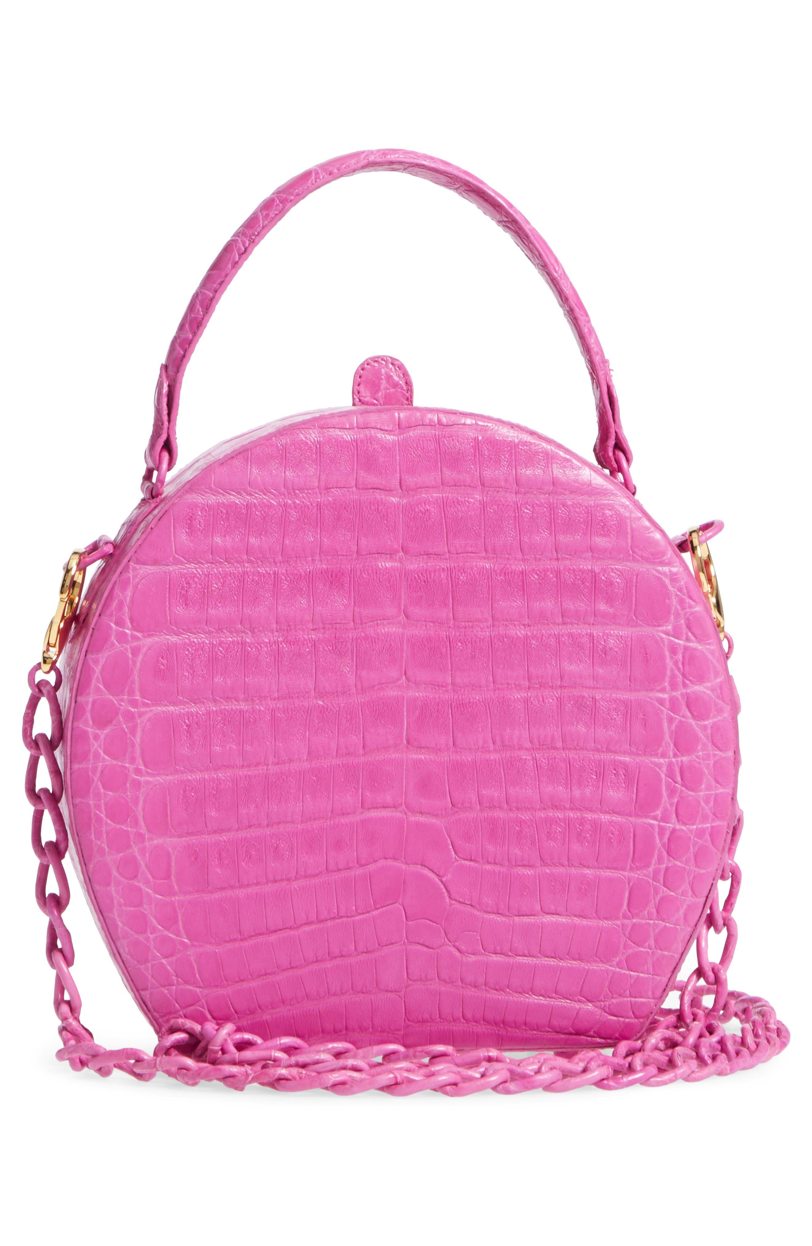 Genuine Crocodile Circle Bag,                             Alternate thumbnail 3, color,                             Pink